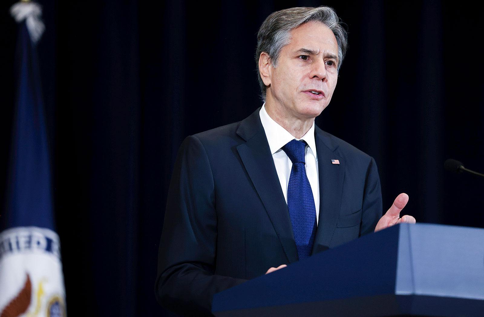 Secretary of State Antony Blinken speaks during an event on September 10.