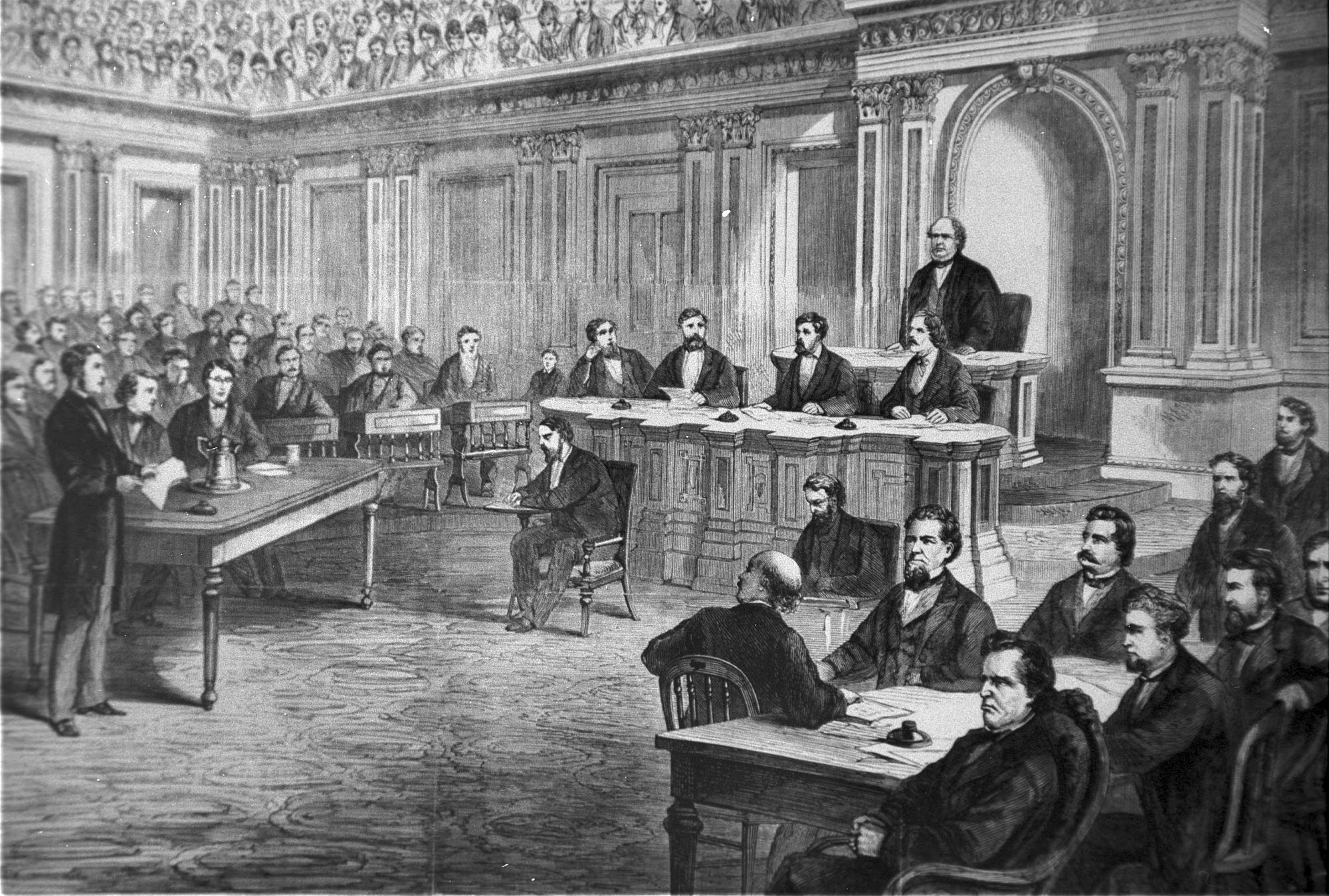 An engraving showing the impeachment trial of President Andrew Johnson in the Senate on March 13, 1868