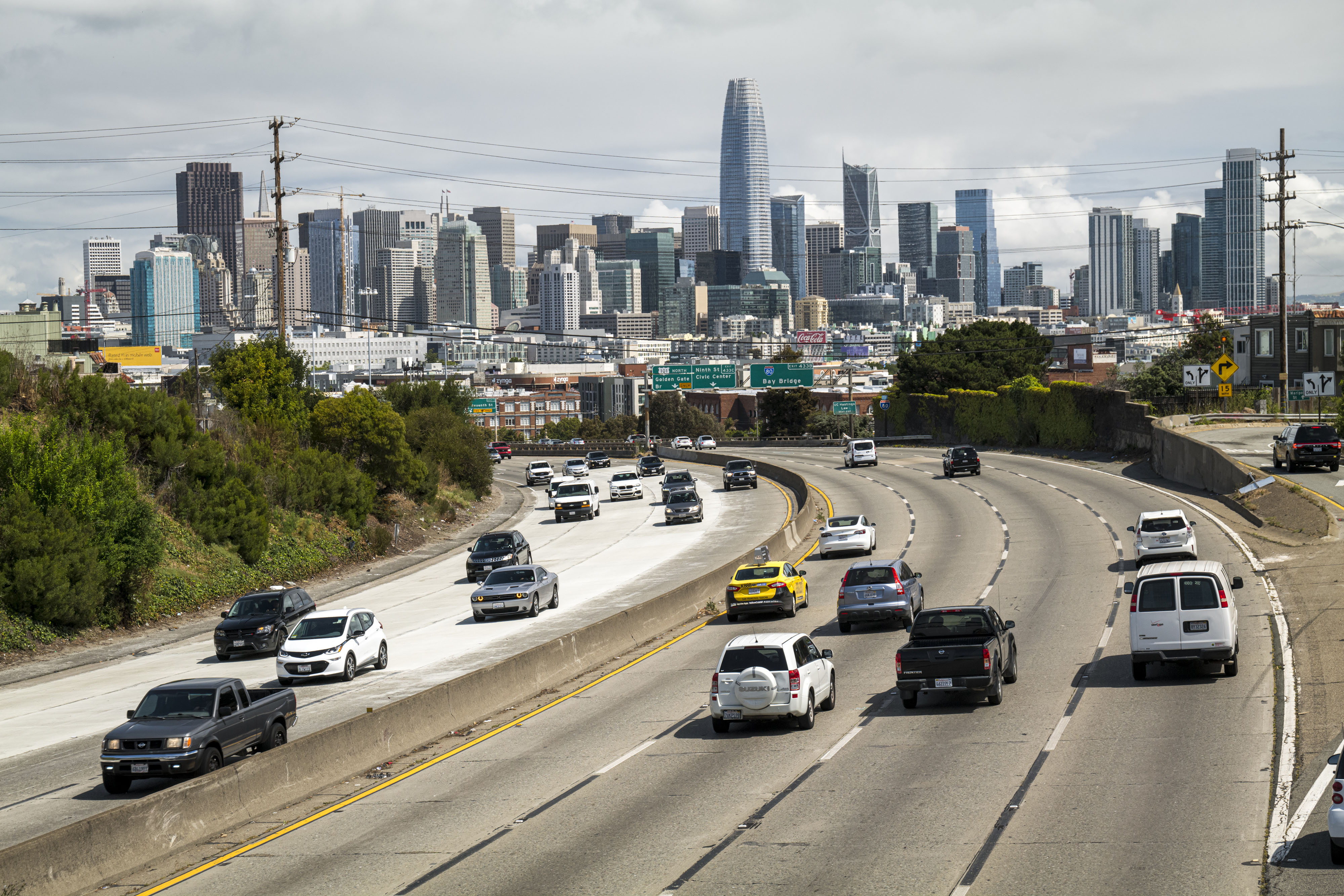 People drive on Highway 101 in San Francisco on May 12.