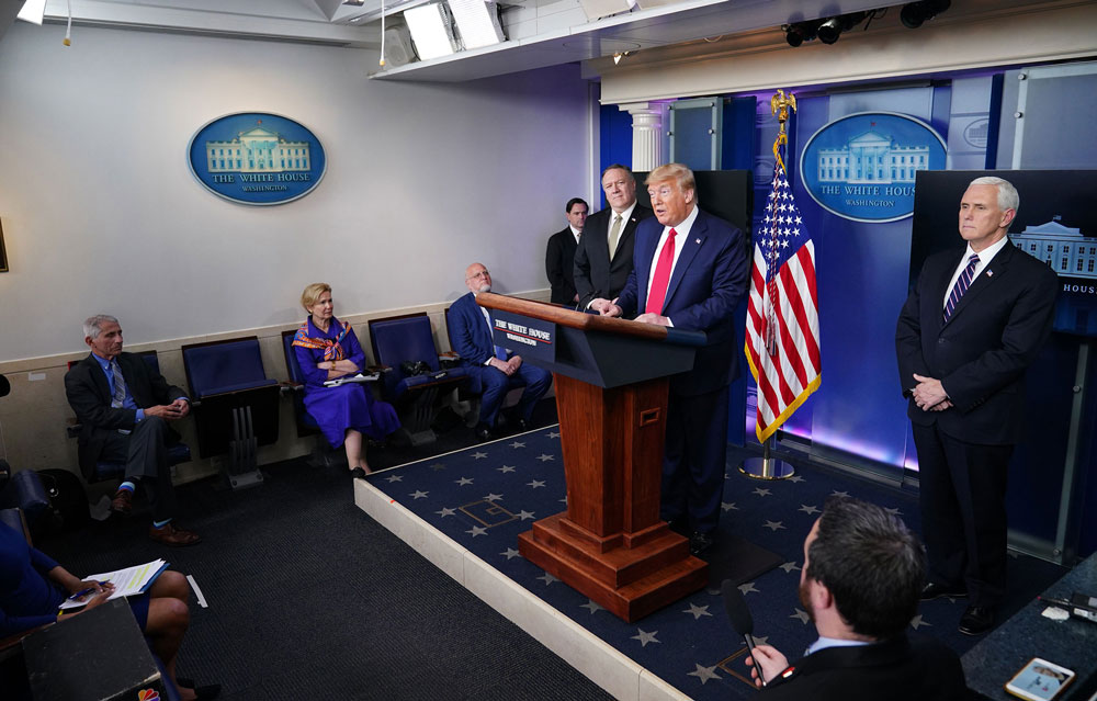 US President Donald Trump speaks during the daily briefing on the coronavirus at the White House on April 8 in Washington.