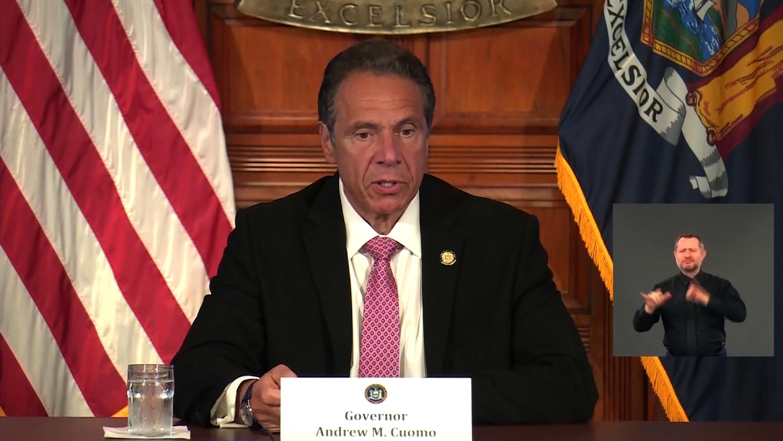 New York Gov. Andrew Cuomo speaks at a news da