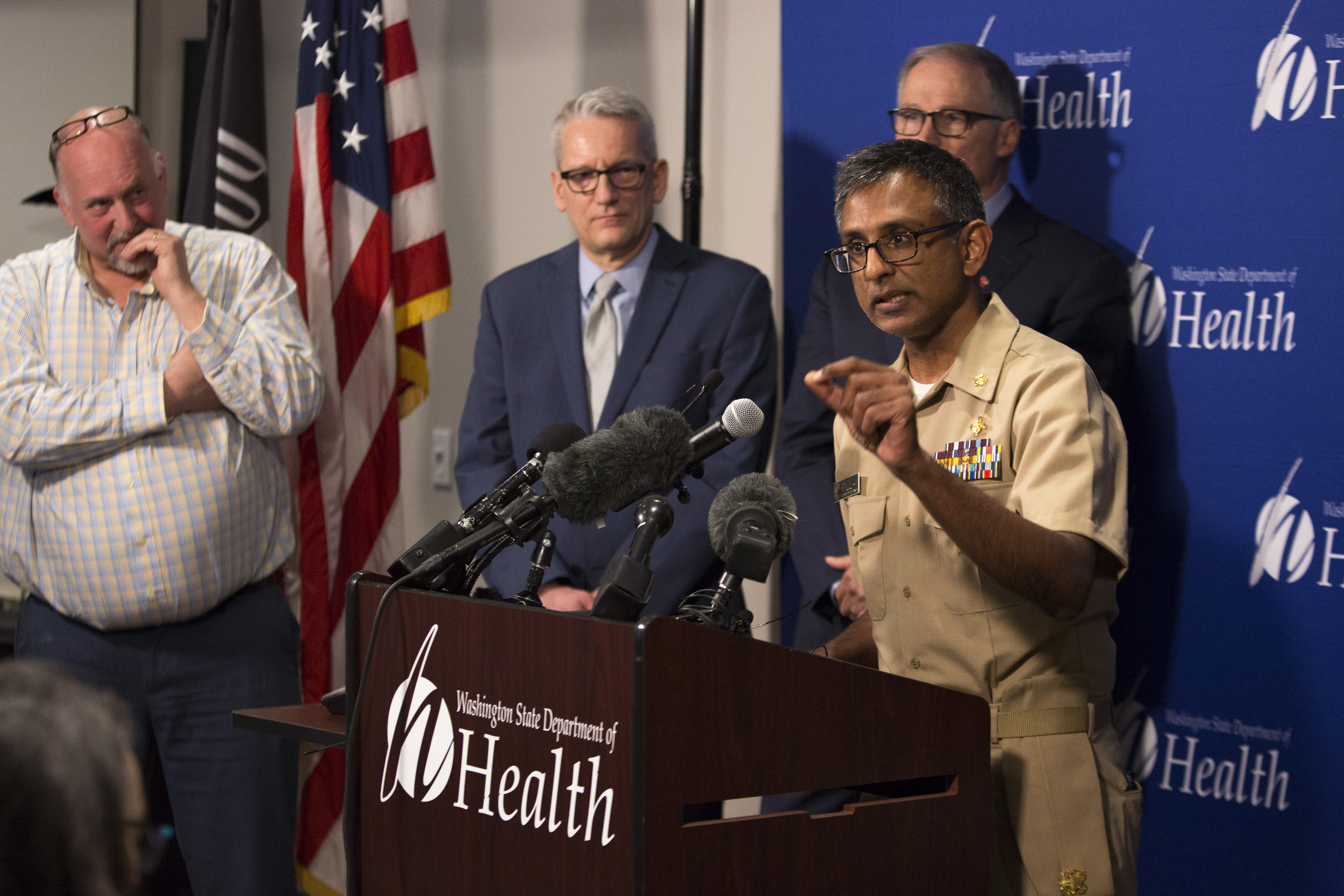 Satish Pillai, a medical officer in the Division of Preparedness and Emerging Infections at the Centers for Disease Control and Prevention, talks about a confirmed case of 2019 novel coronavirus in Washington state during news conference Tuesday.