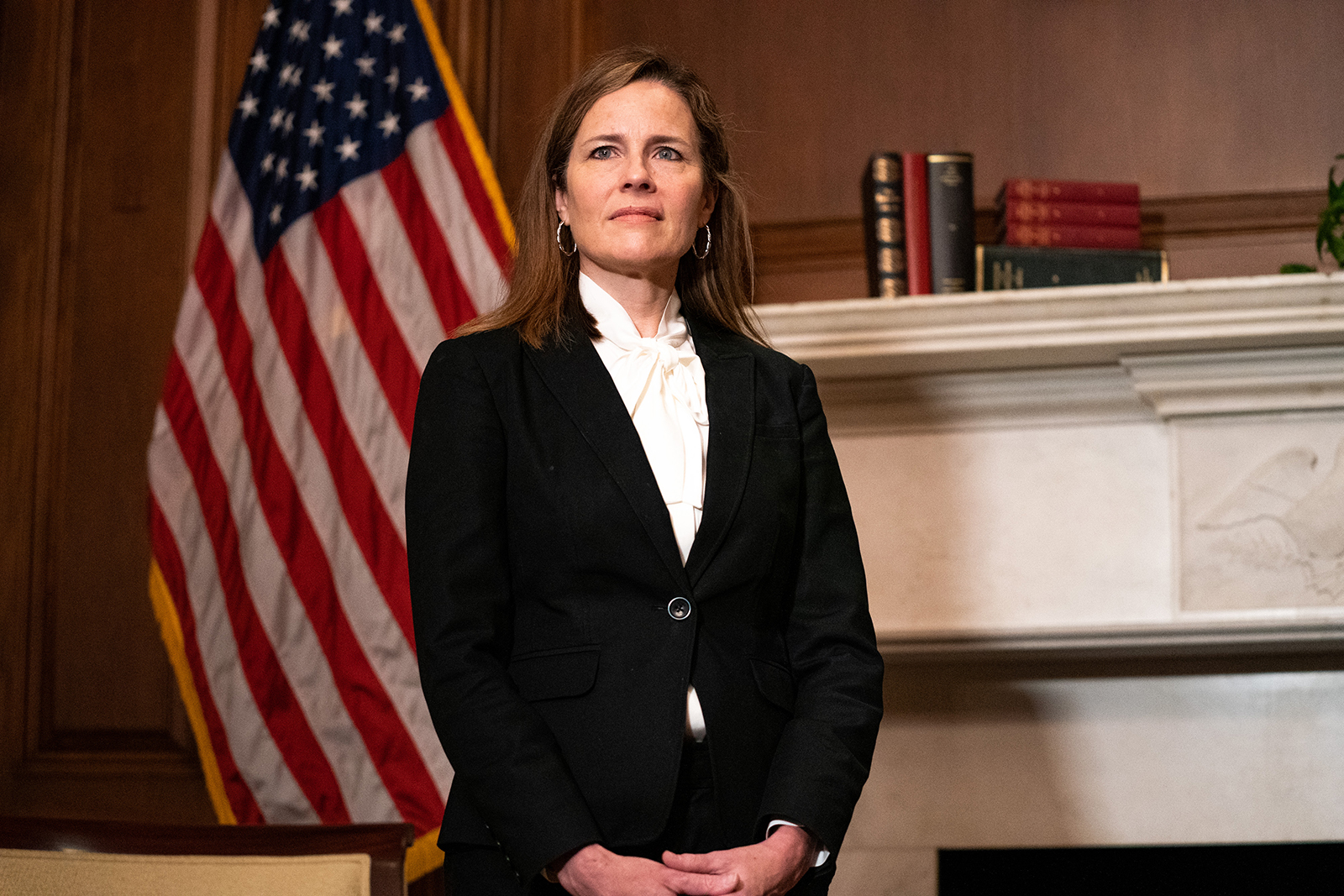 Judge Amy Coney Barrett, President Donald Trump's nominee for Supreme Court, poses for a photo before a meeting at the United States Capitol Building on October 1, in Washington.