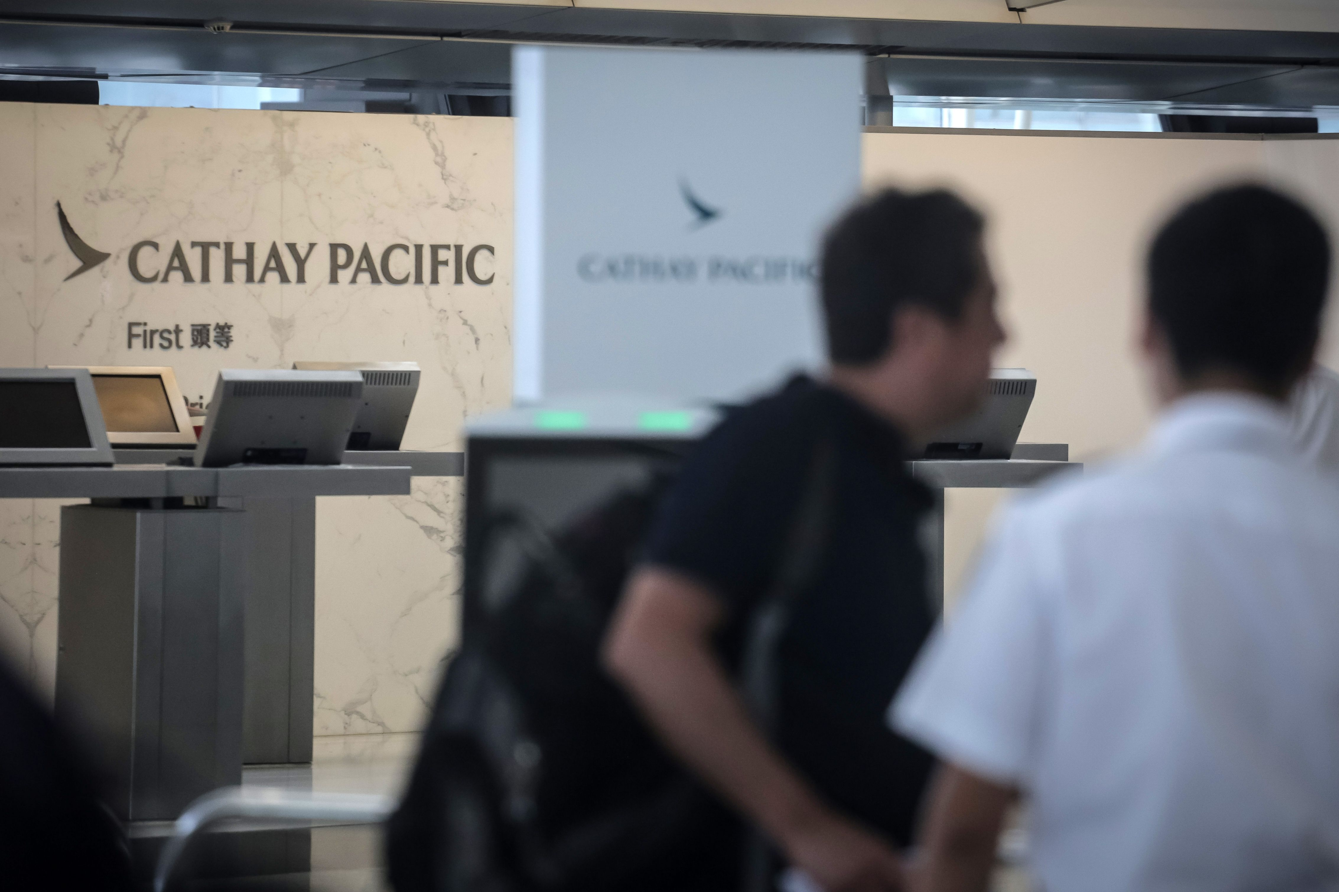 The Cathay Pacific check-in area at Hong Kong's International Airport on August 10, 2019.