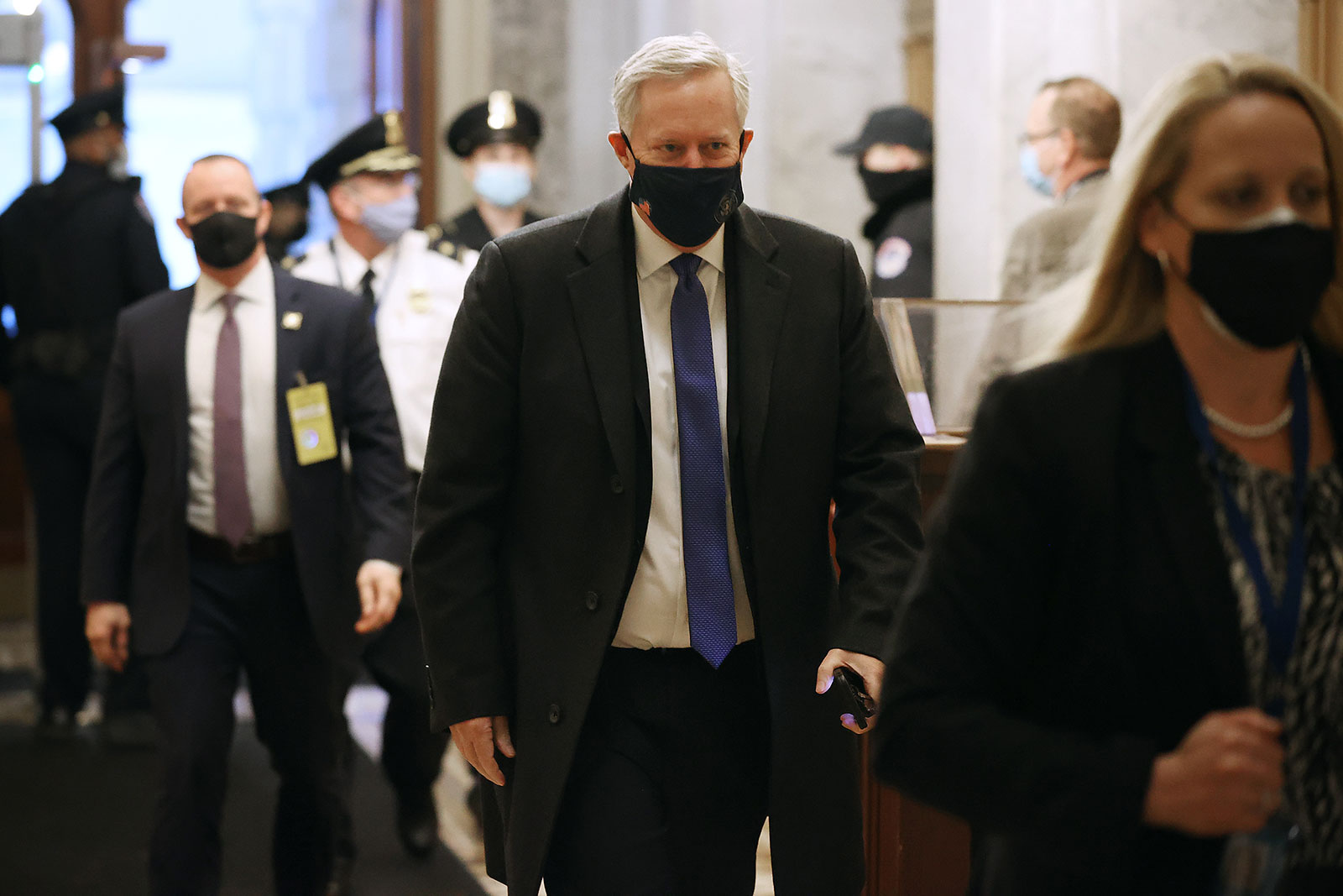 Former White House chief of staff Mark Meadows arrives on Capitol Hill on February 9.