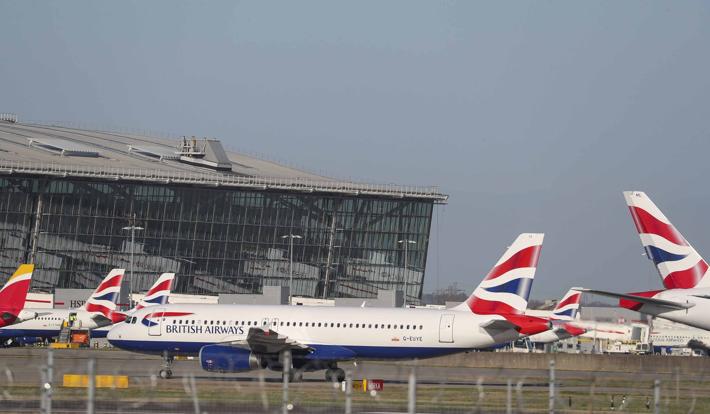 British Airways planes are seen at London's Heathrow Airport in January.