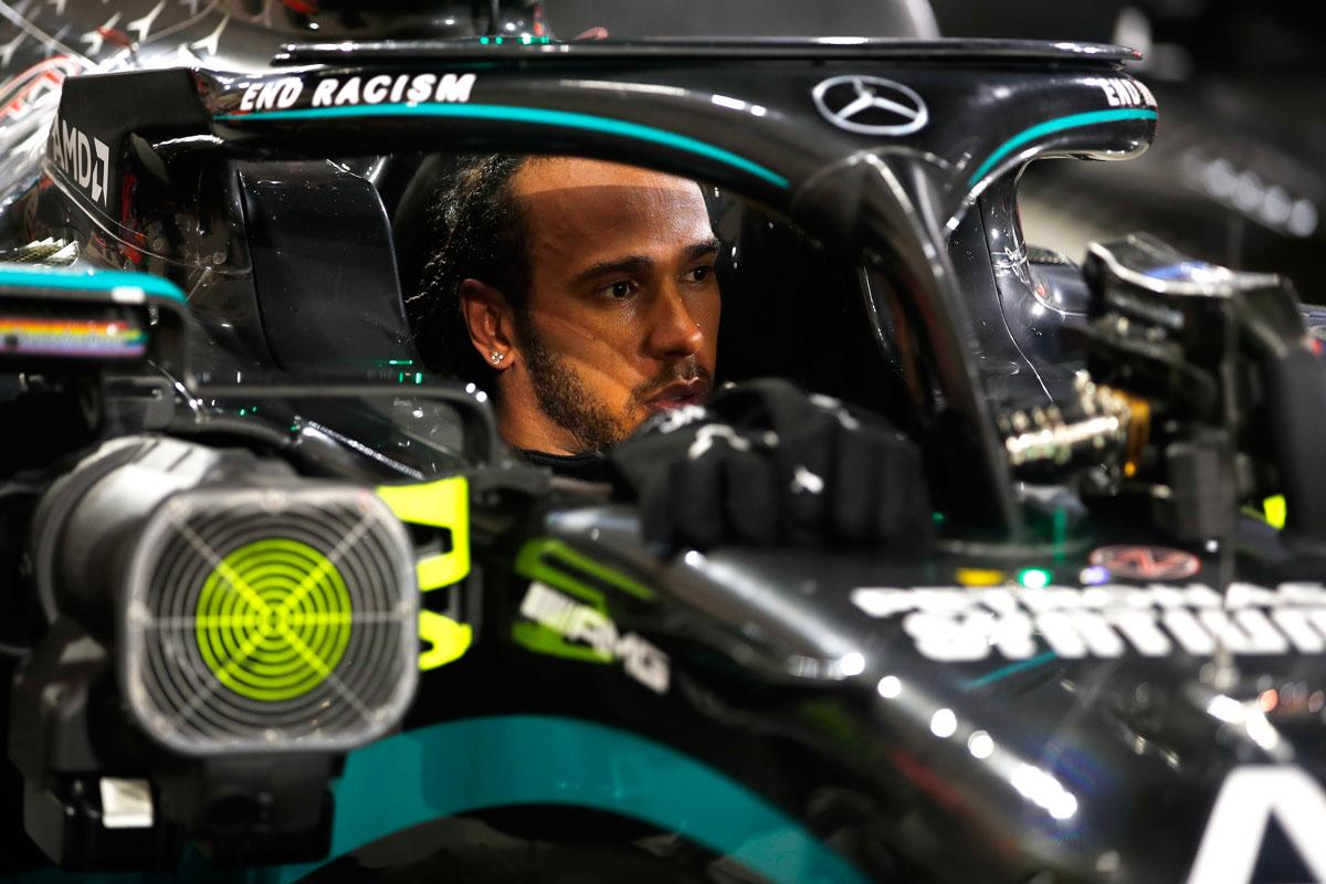 Race winner Lewis Hamilton at the F1 Grand Prix of Bahrain at Bahrain International Circuit on Nov. 29.