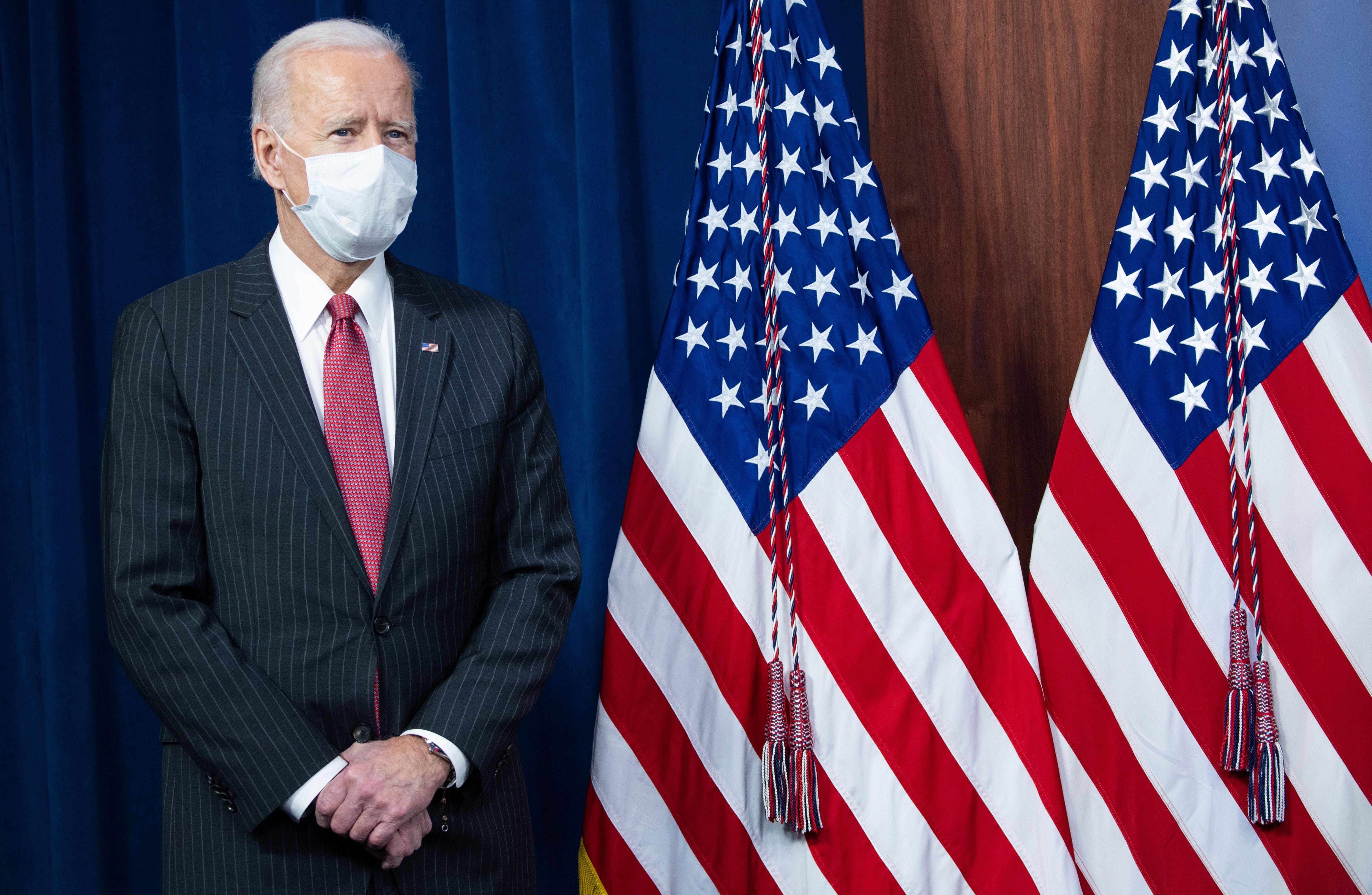 US President Joe Biden waits to speak during a visit to the Pentagon in Washington, DC, on February 10.