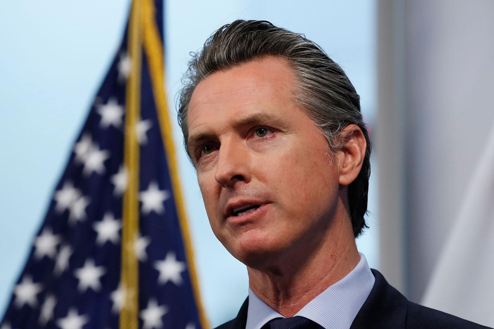 California Gov. Gavin Newsom speaks at a news briefing in Rancho Cordova, California on April 9.