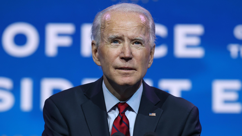 President-elect Joe Biden speaks at the Queen Theater on December 8 in Wilmington, Delaware.