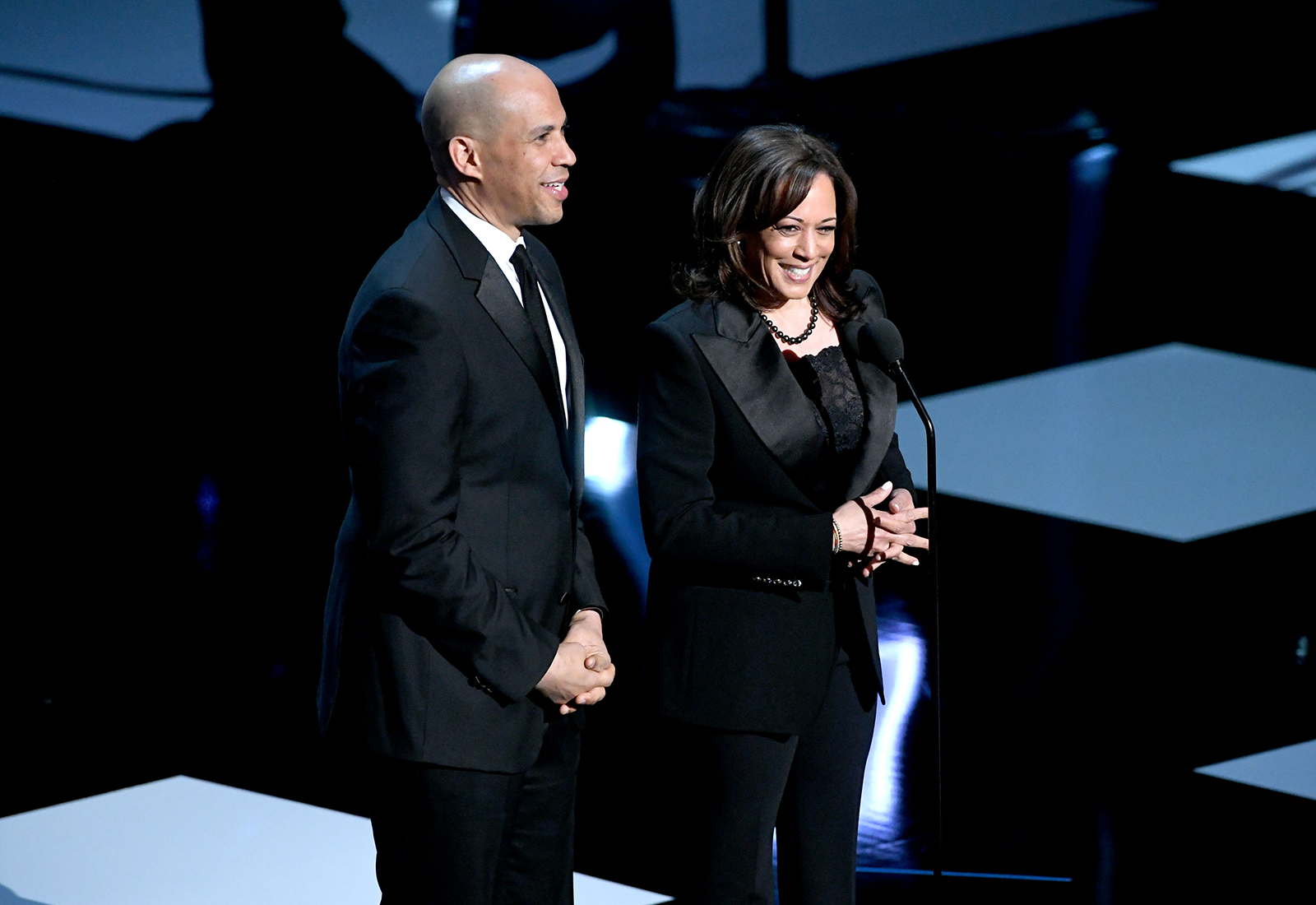 Cory Booker and Kamala Harris speak onstage at the 50th NAACP Image Awards at Dolby Theatre on March 30, 2019 in Hollywood, California.