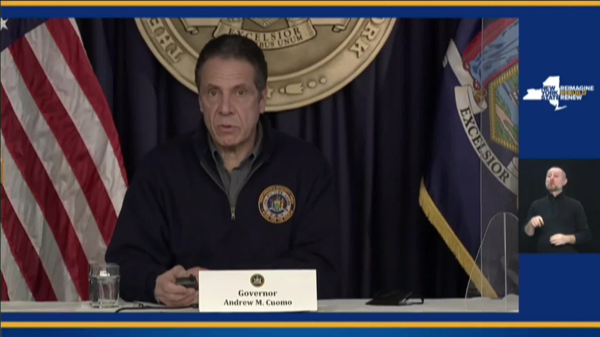 New York Gov. Andrew Cuomo speaks during a press conference on February 1.