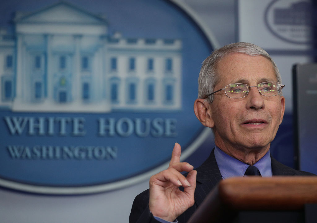 Dr. Anthony Fauci, director of the National Institute of Allergy and Infectious Diseases, speaks during a coronavirus briefing at the White House on April 17.