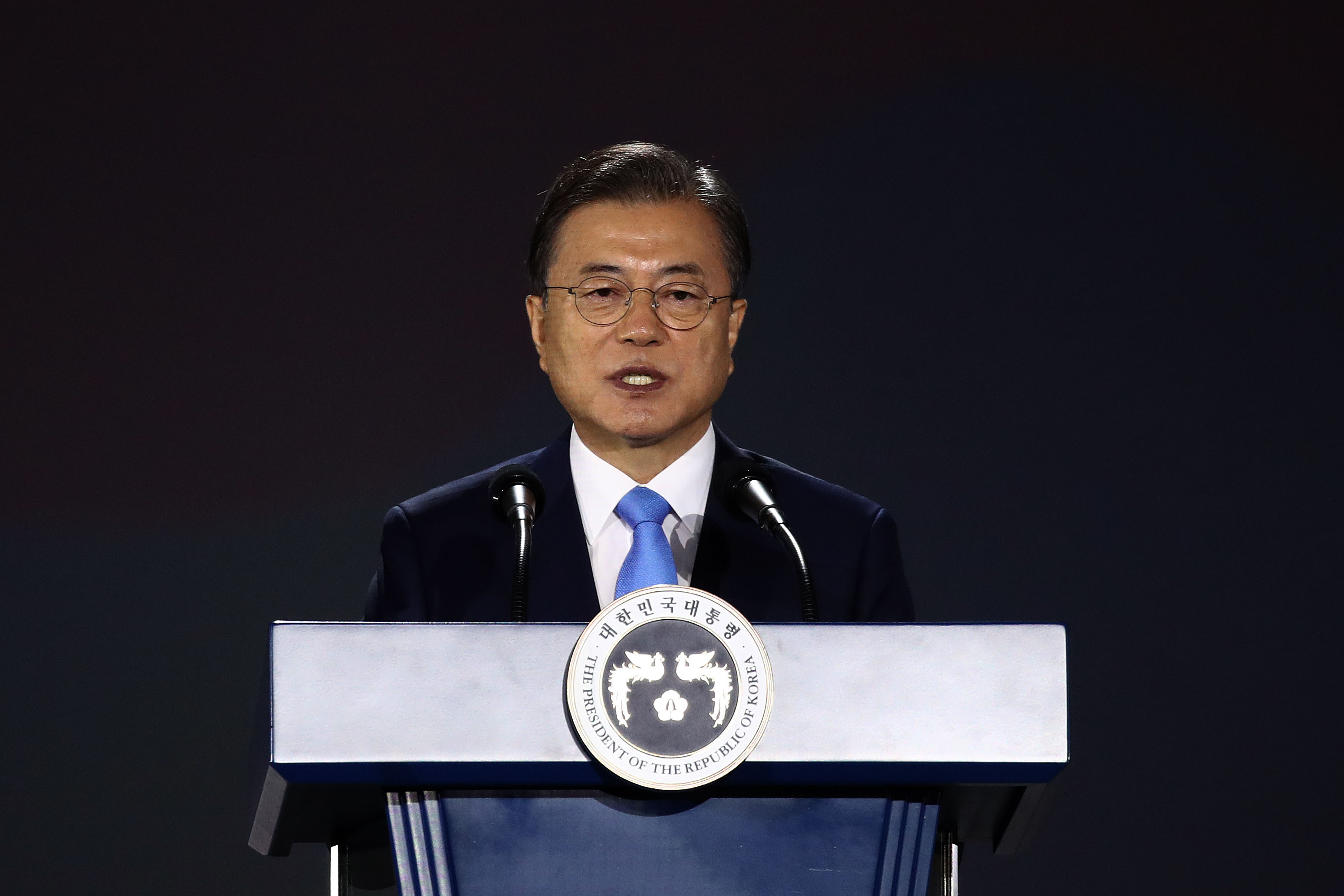 South Korea's President Moon Jae-in speaks at an event in Seoul on August 15.
