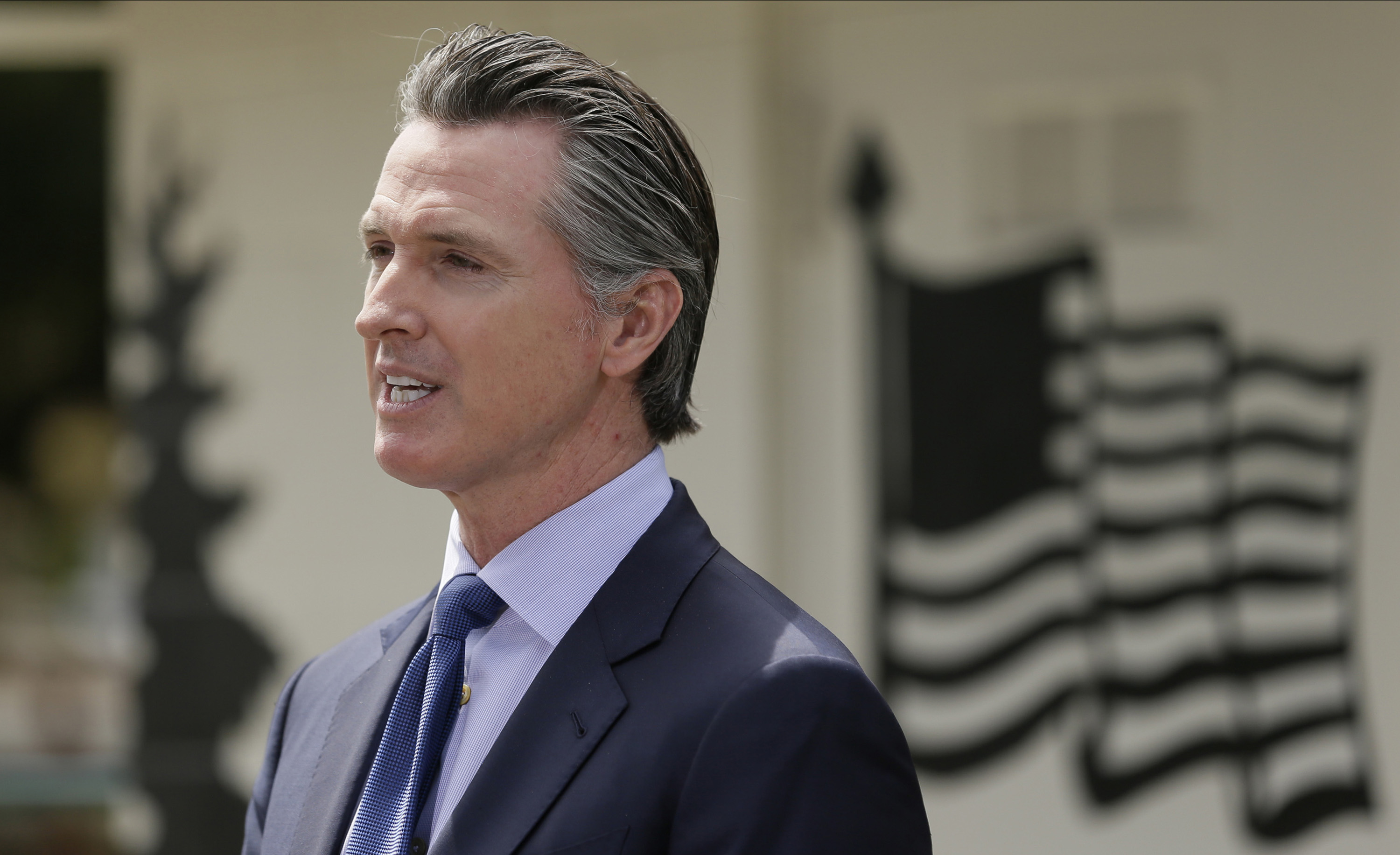 California Gov. Gavin Newsom speaks during a news conference at the Veterans Home of California in Yountville, on May 22.