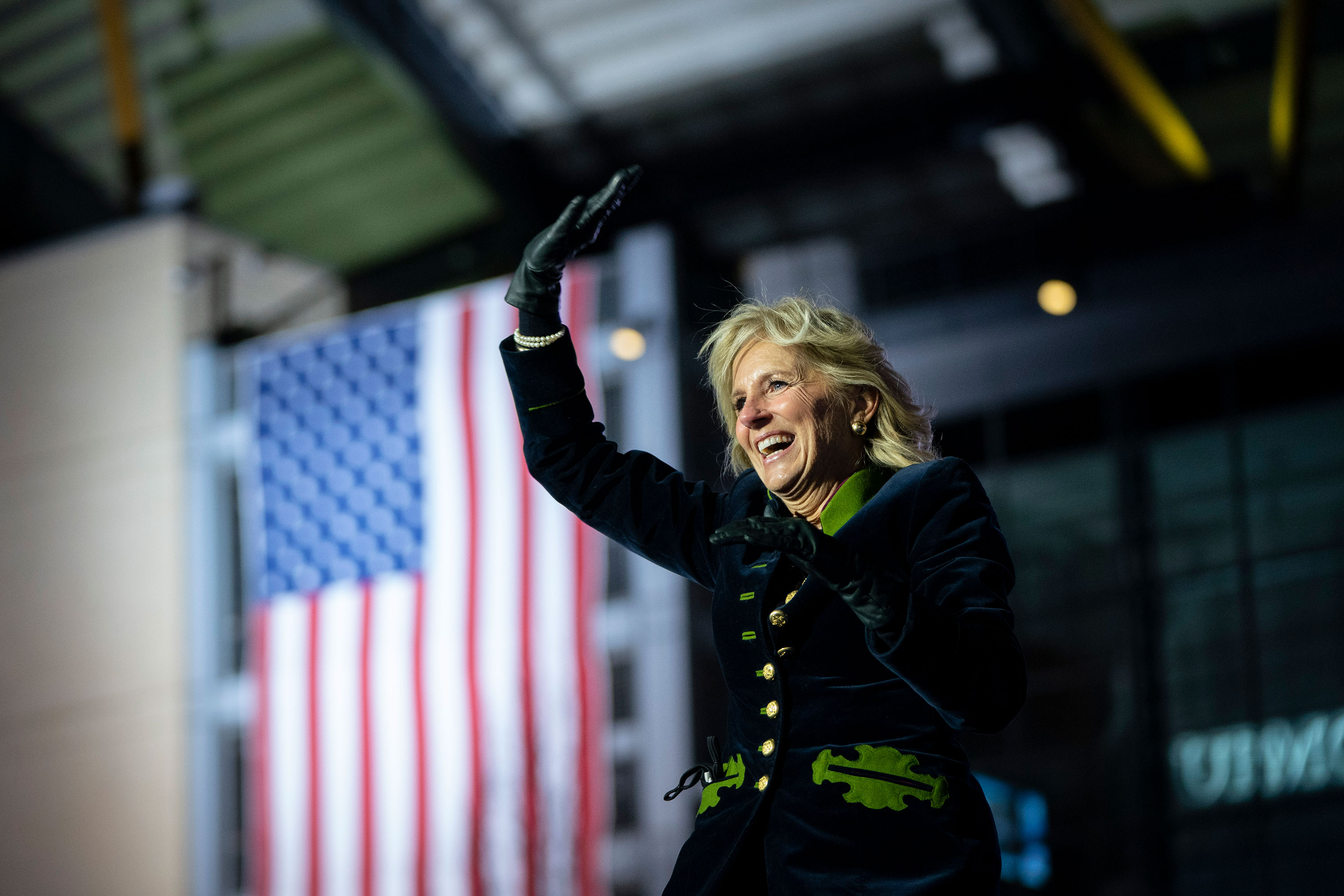 First lady Jill Biden arrives to speak at a campaign rally in November 2020 in Pittsburgh.