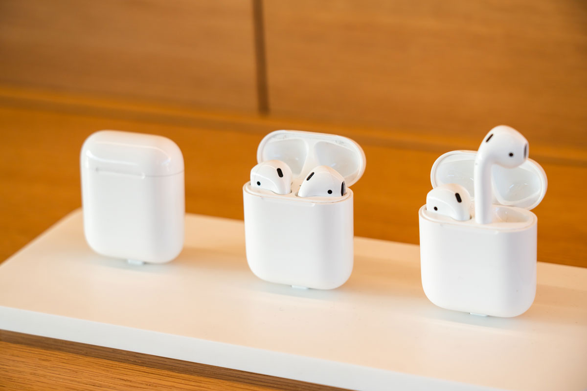 AirPods products displayed at the Apple Park Visitor Center in Cupertino.