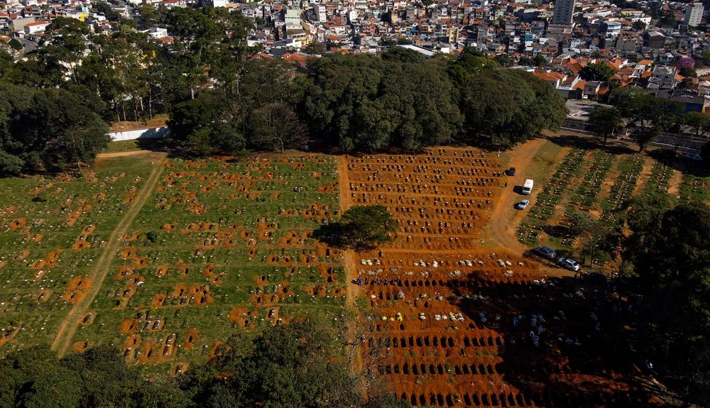 The Vila Formosa cemetery in Sao Paulo, Brazil, on June 21.