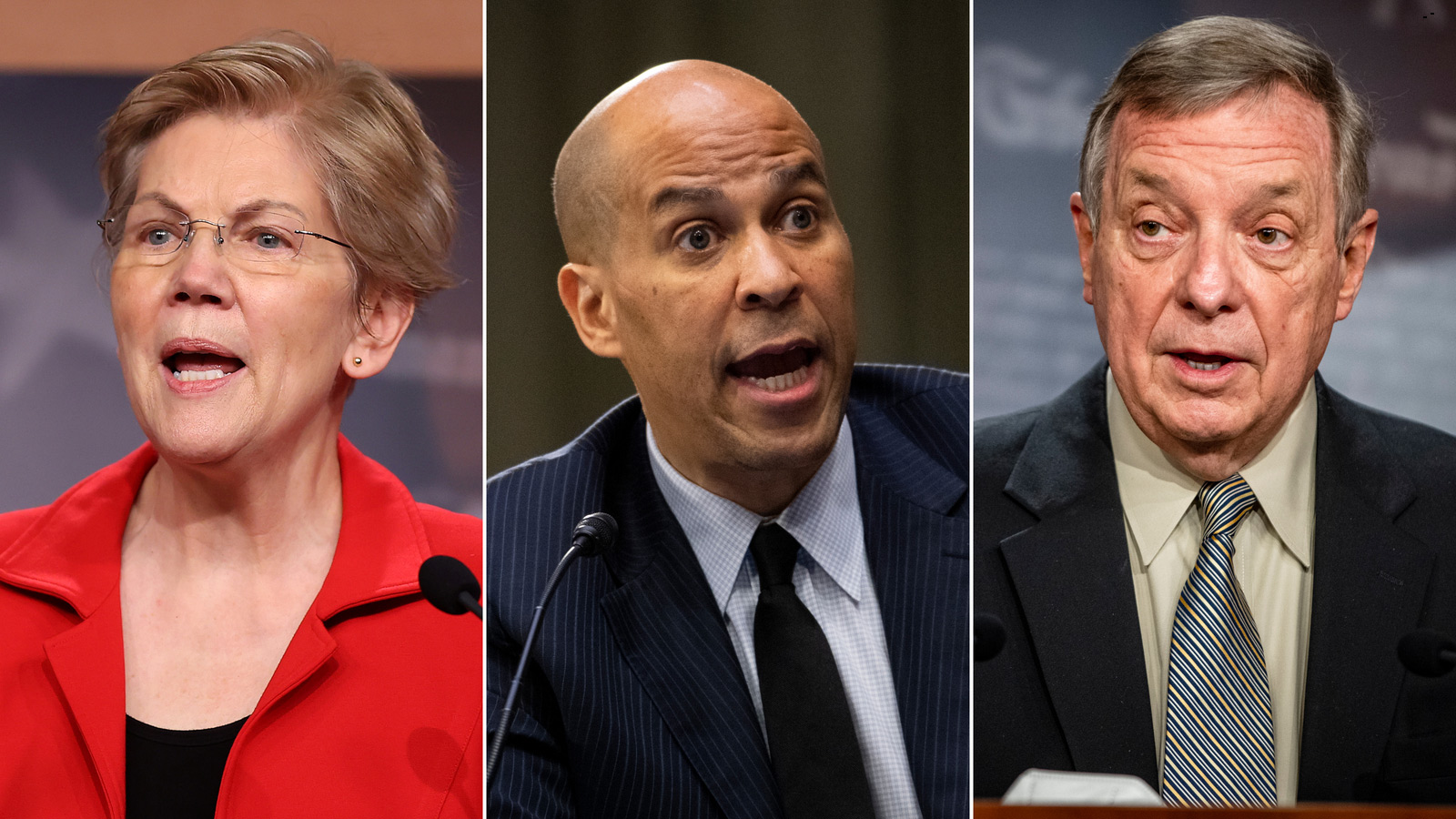 From left to right, Sens. Elizabeth Warren, Cory Booker and Dick Durbin