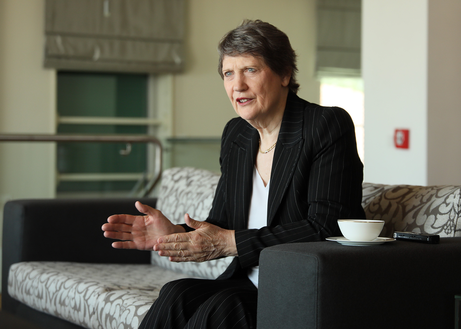 Former Prime Minister of New Zealand, Helen Clark speaks during an exclusive interview in Ankara, on May 16, 2018.