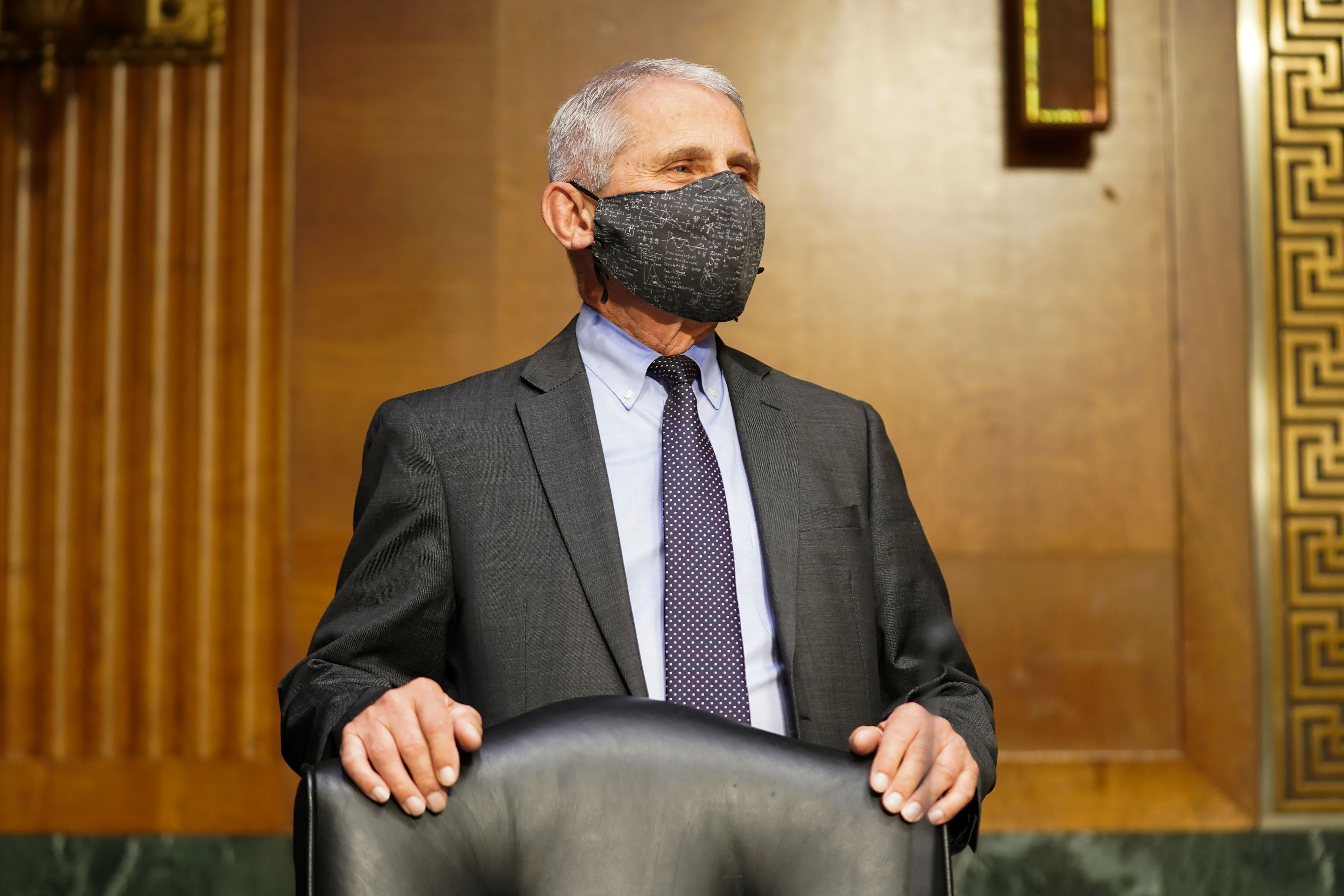 Dr. Anthony Fauci, director of the National Institute of Allergy and Infectious Diseases, arrives for a hearing on May 11 in Washington, DC.
