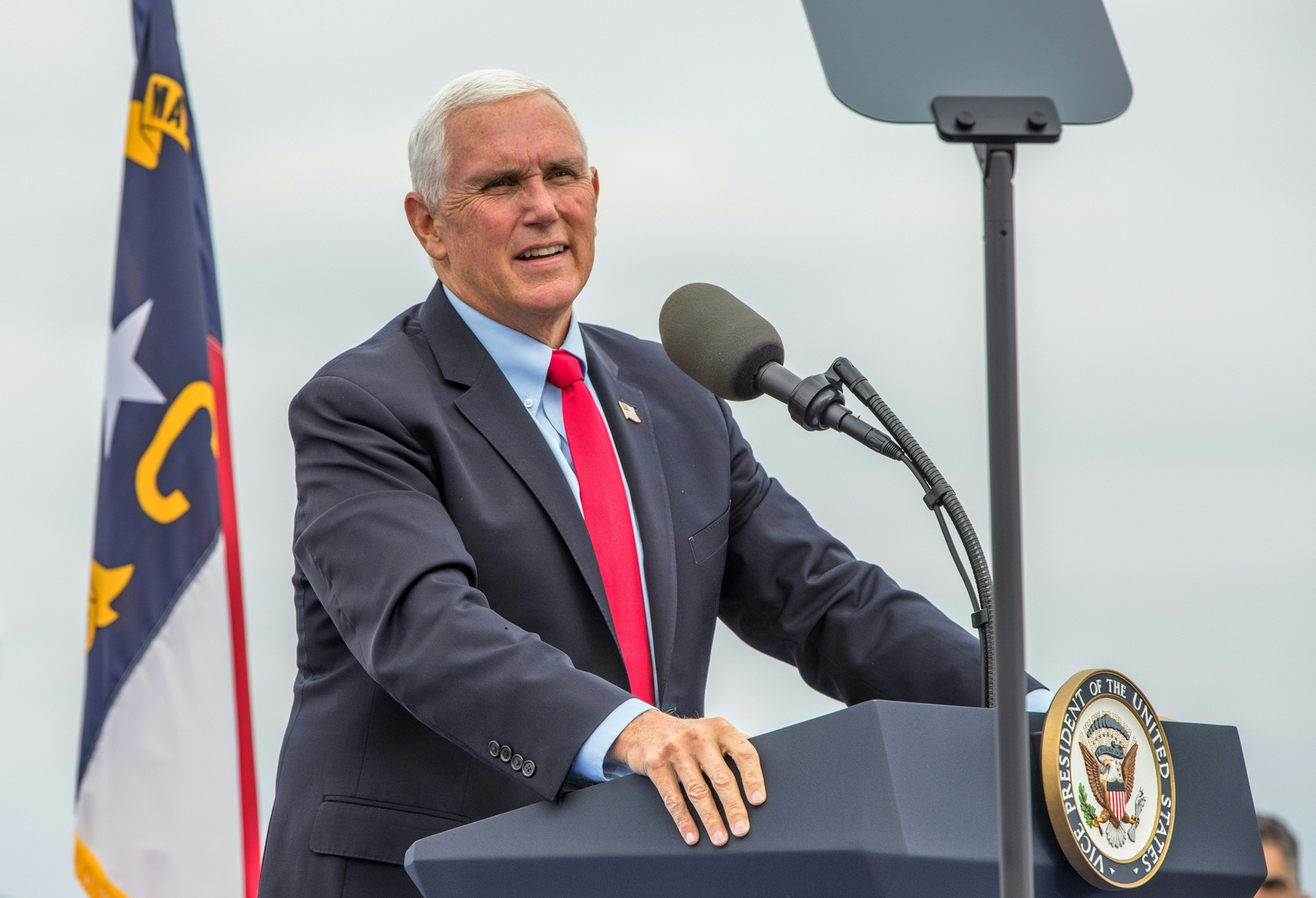 Vice President Mike Pence speaks at a Make America Great Again rally at Greensboro International Airport in Greensboro, North Carolina, on October 27.