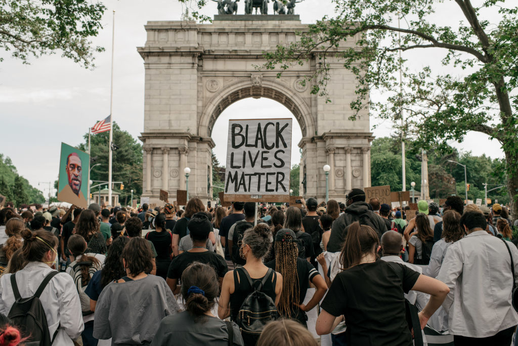 Demonstrators denouncing systemic racism in law enforcement and the killing of George Floyd by a Minneapolis Police officer gather at a press conference in the borough of Brooklyn calling for the passing of bills to increase police accountability throughout New York state on June 4 in New York City.