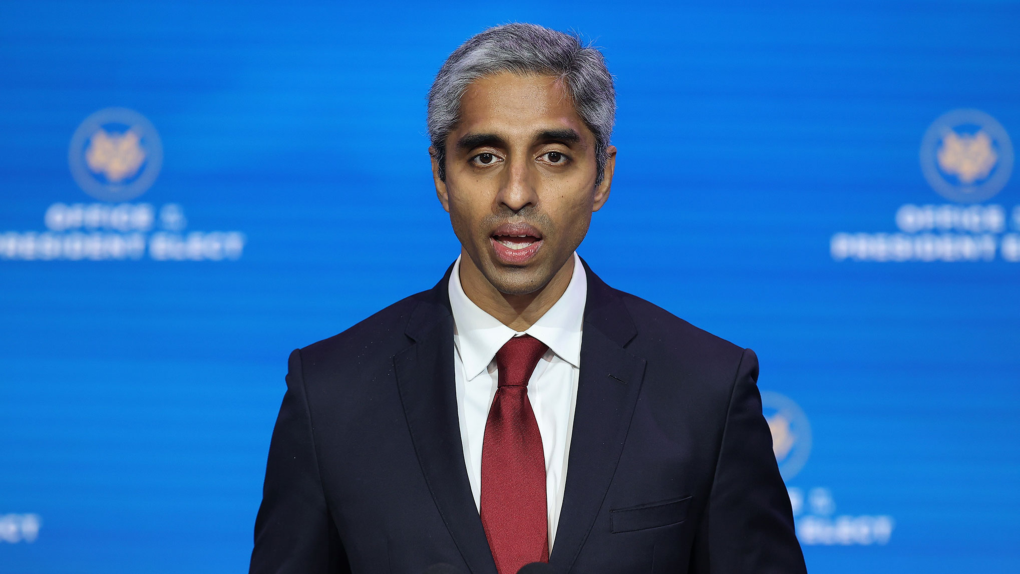 Dr. Vivek Murthy, President-elect Joe Biden's pick to be US surgeon general, speaks during a news conference at the Queen Theater December 8 in Wilmington, Delaware.