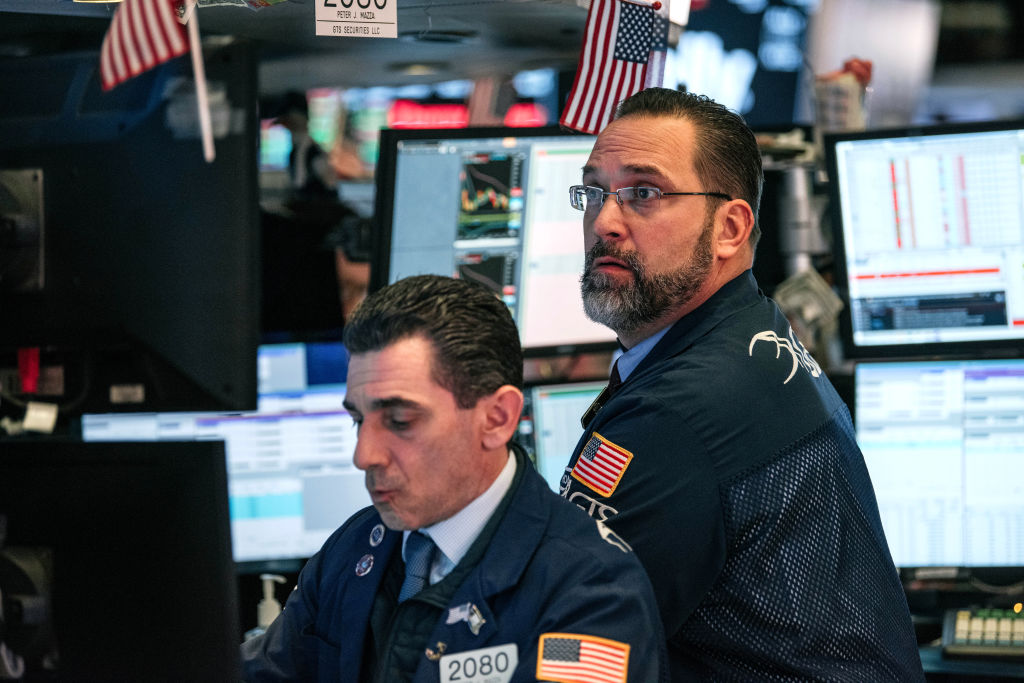 Traders work on the floor of the New York Stock Exchange on February 28, 2020 in New York City.