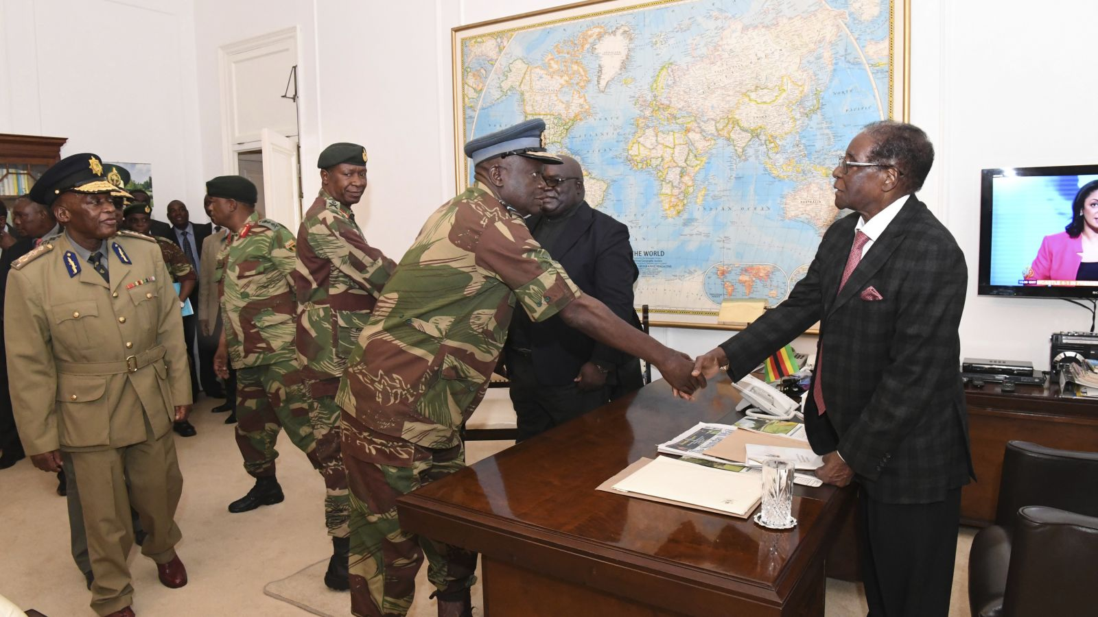 Mugabe meets with generals in Harare on November 19, 2017. Military leaders had been in talks with Mugabe over his exit.