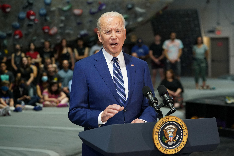President Joe Biden delivers a speech at the Sports Rock Climbing Center.  in Alexandria  Virginia on May 28