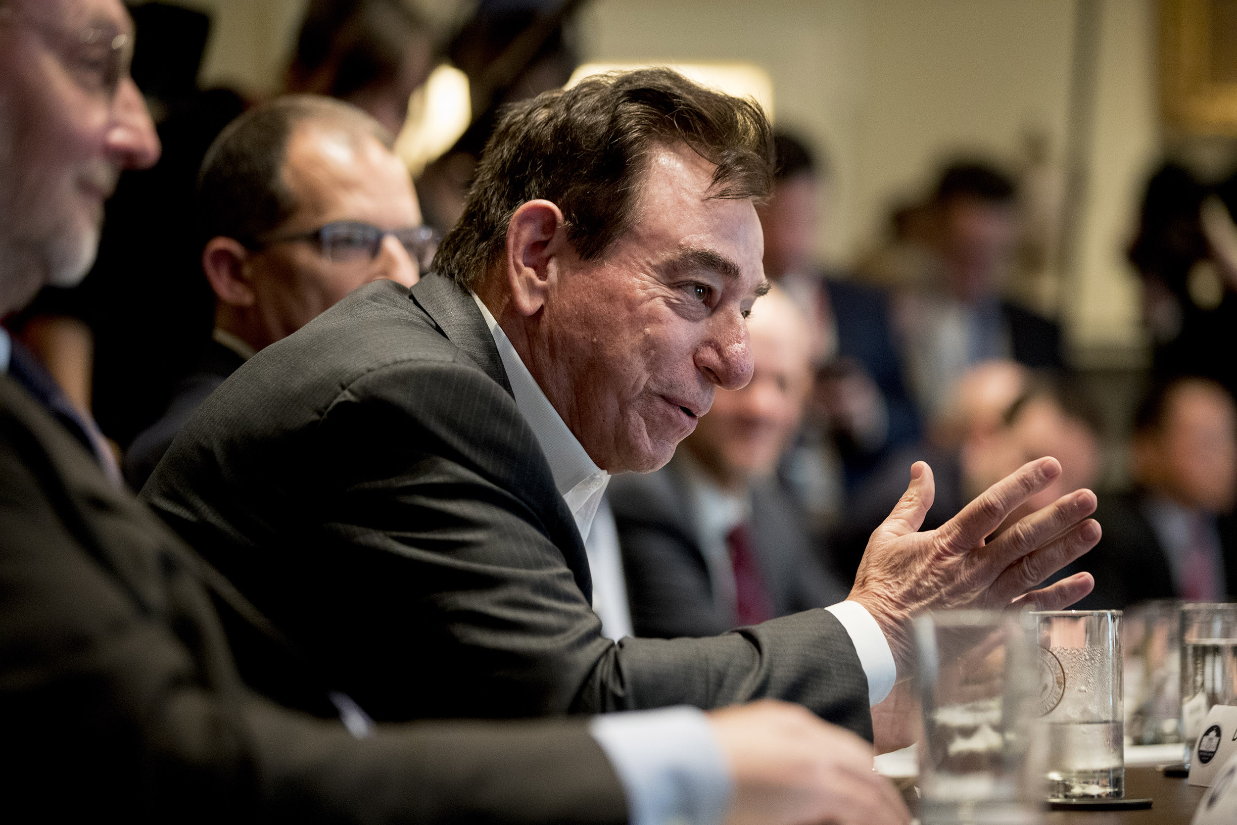 Regeneron CEO Dr. Leonard Schleifer speaks at a meeting with President Donald Trump, members of the Coronavirus Task Force, and pharmaceutical executives at the White House, on March 2.