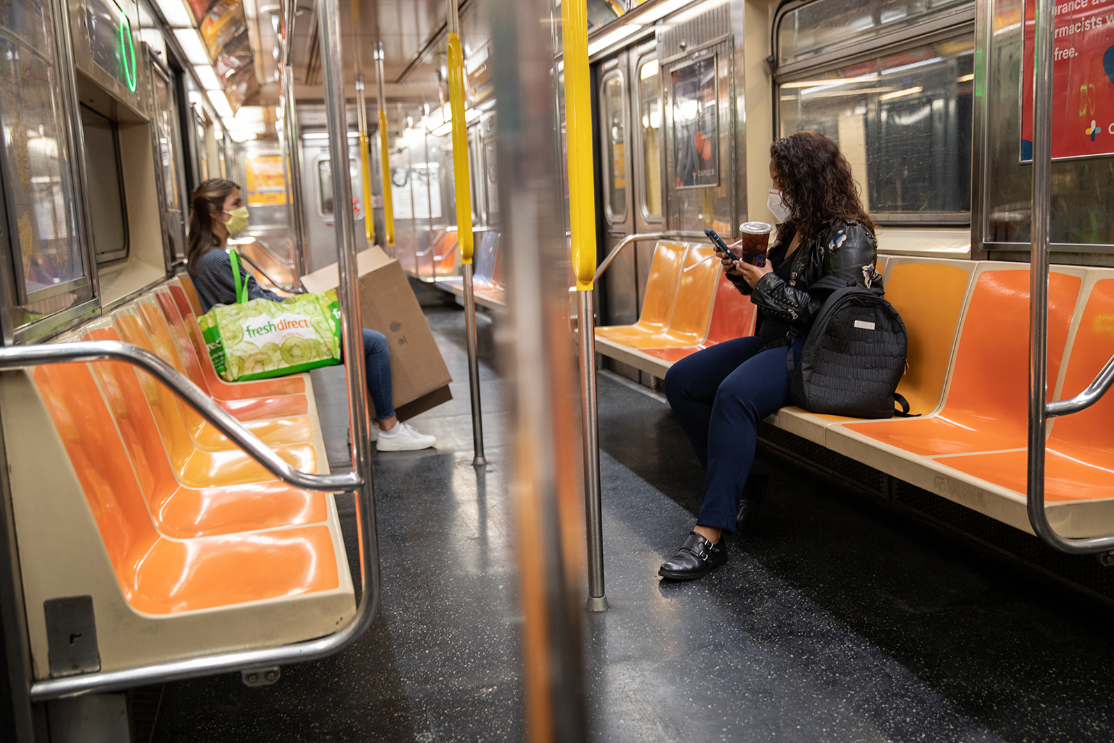 A virtually empty subway car leaves Union Square Station during what would normally be the morning rush hour in Manhattan on June 1, in New York City.