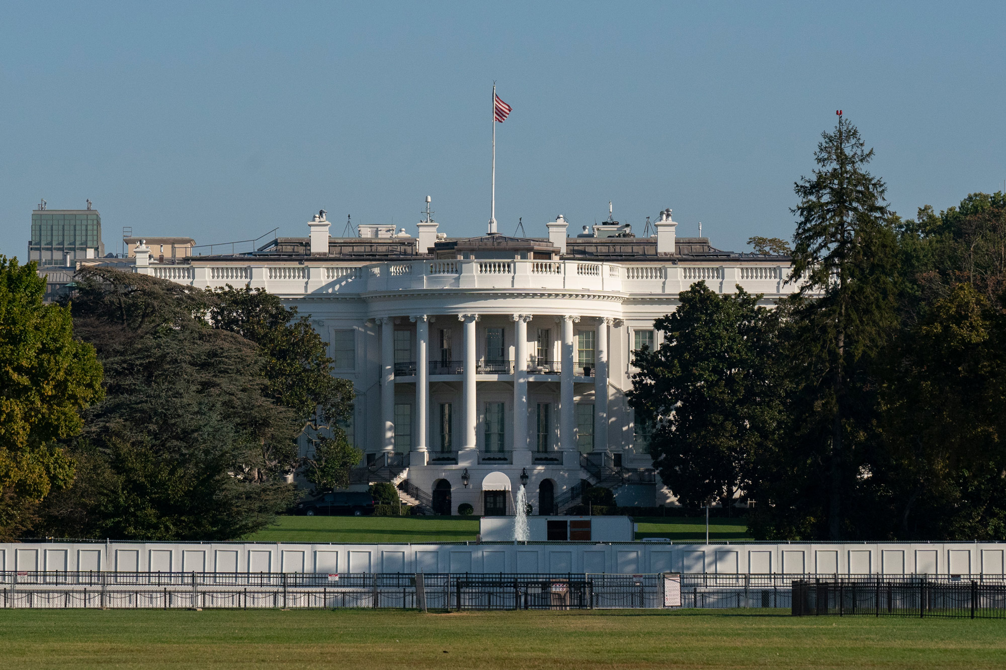 The White House is seen in Washington, DC, on October 7.