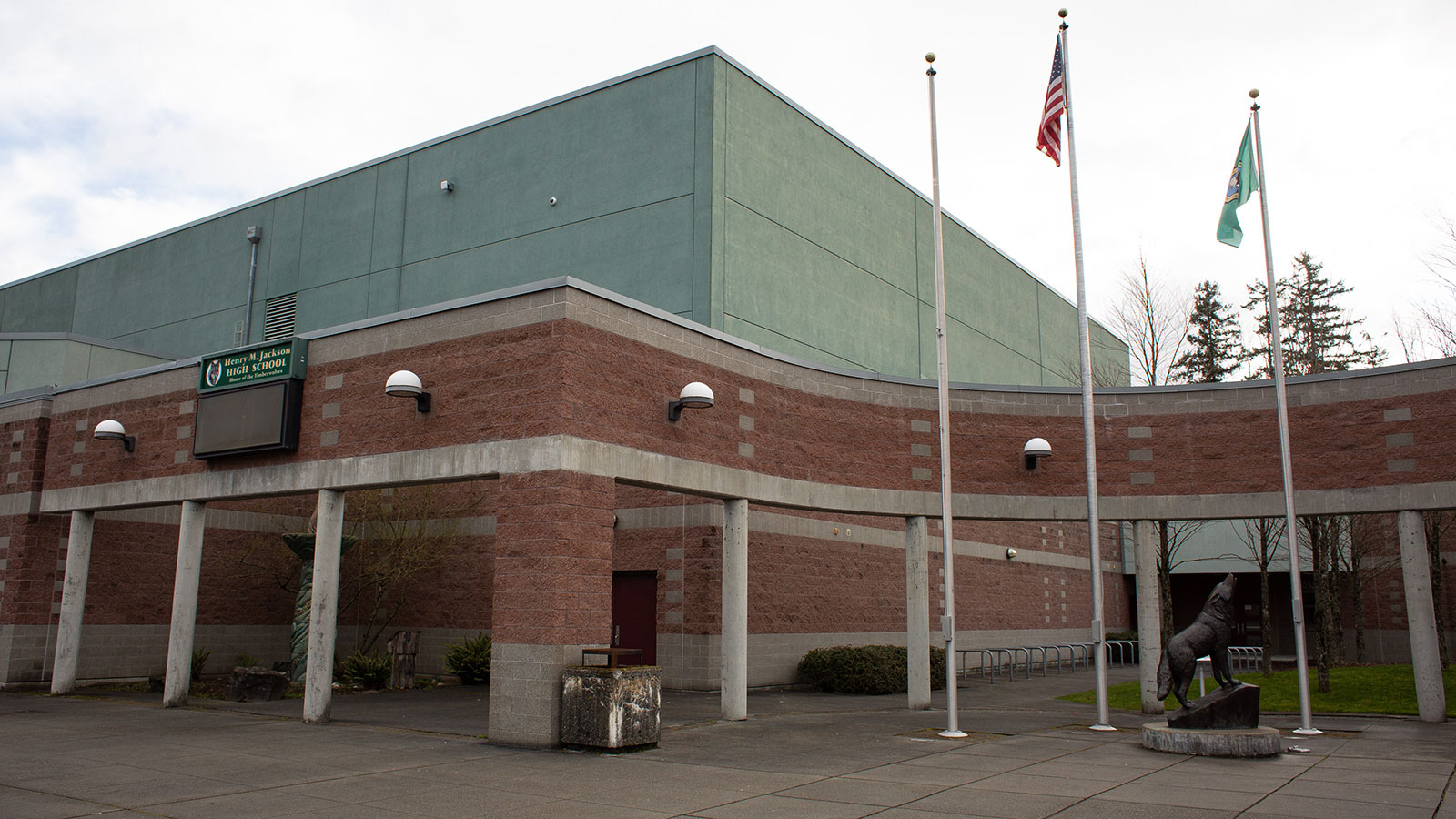 The exterior of Jackson High School is seen in Mill Creek, Washington on February 29.