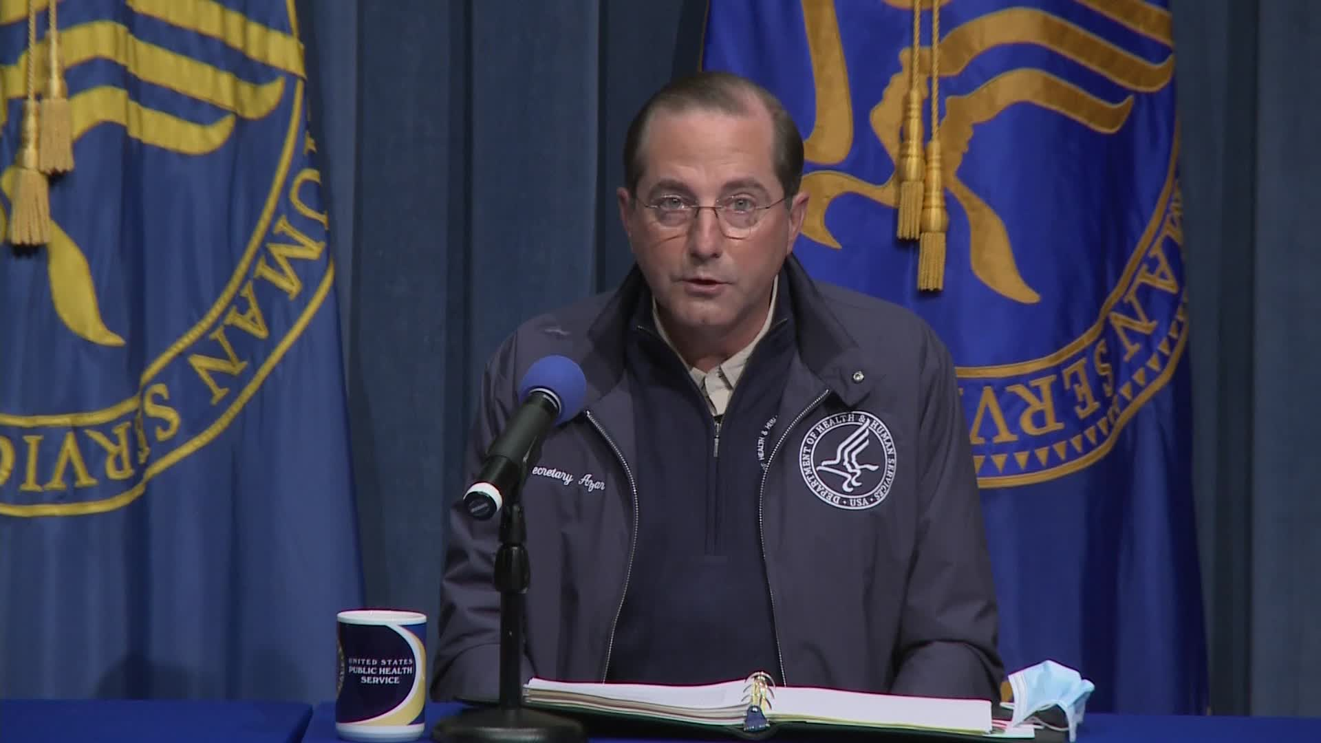 Health and Human Services Secretary Alex Azar speaks during an Operation Warp Speed briefing on December 16.