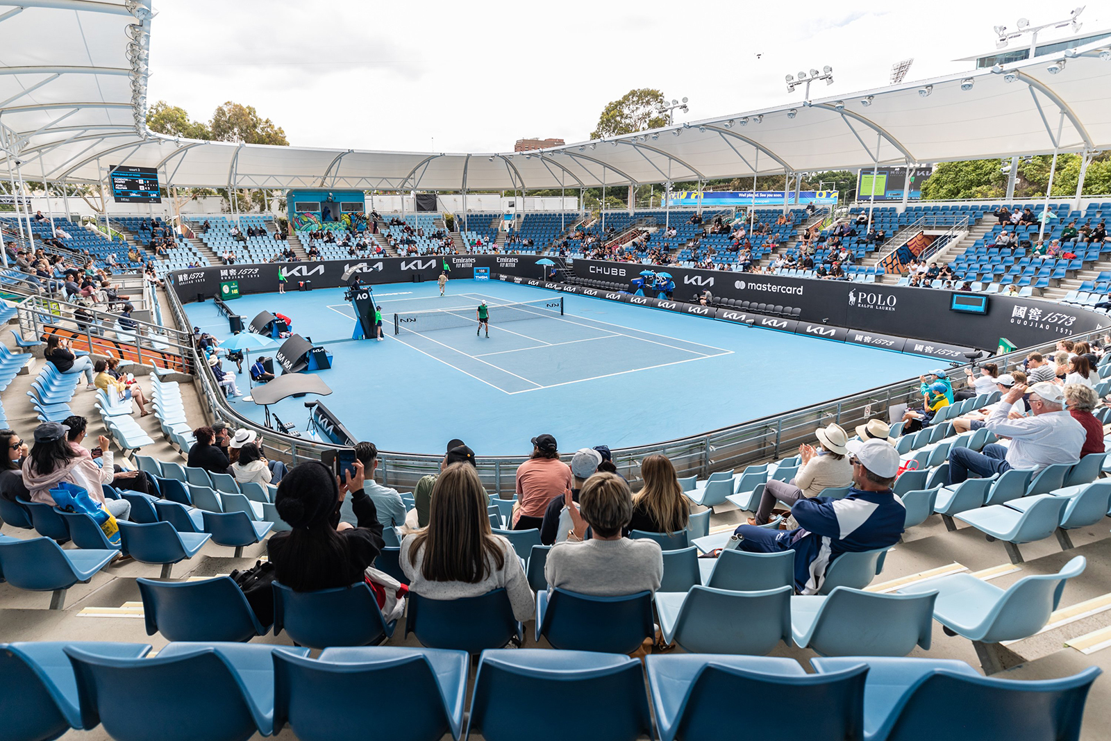 A view of Court 3 is seen during day one of the 2021 Australian Open, on February 8.