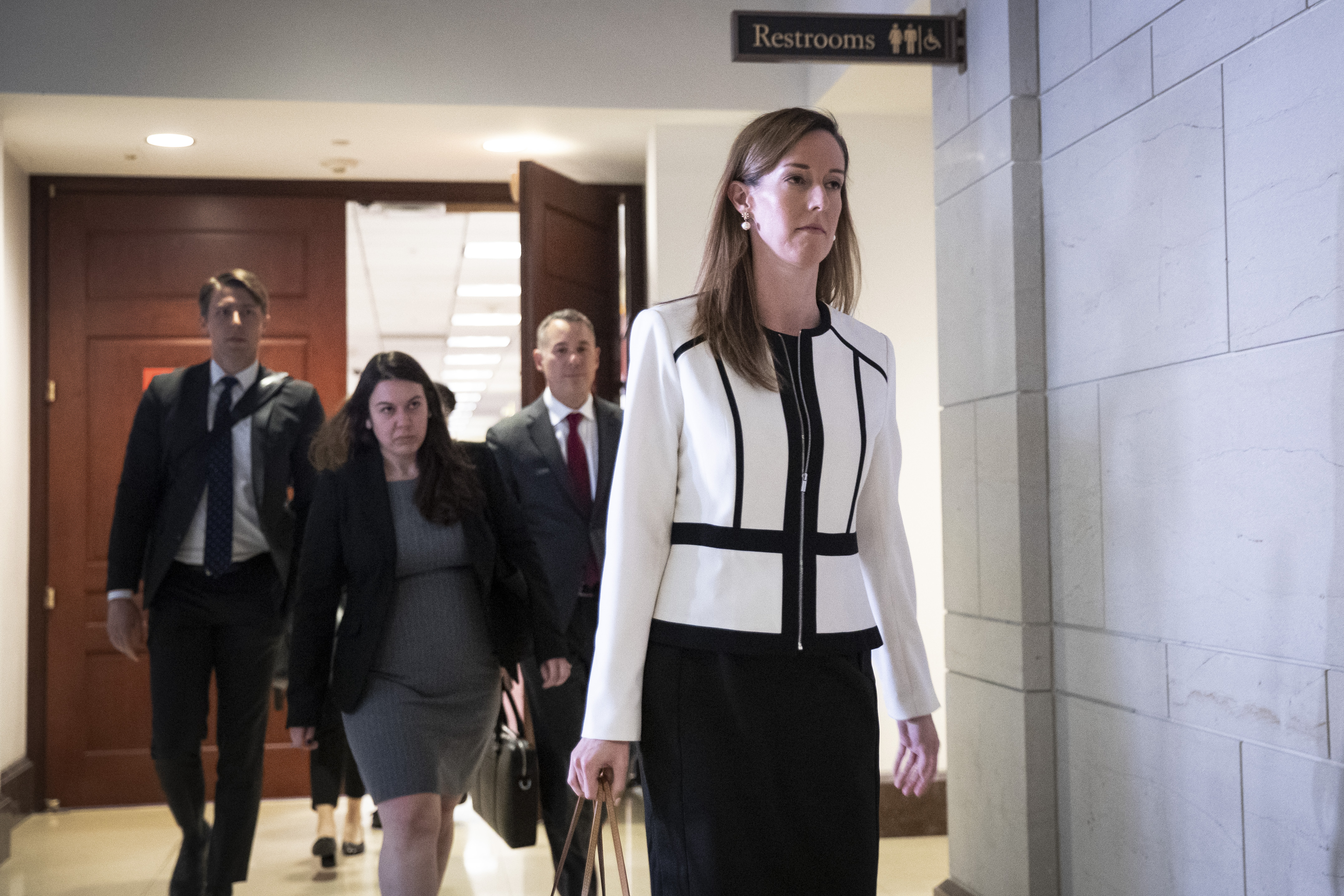 Jennifer Williams, an aide to Vice President Mike Pence, exits a deposition with the House Intelligence, Foreign Affairs and Oversight committees at the US Capitol on Nov. 7, 2019 in Washington, DC.