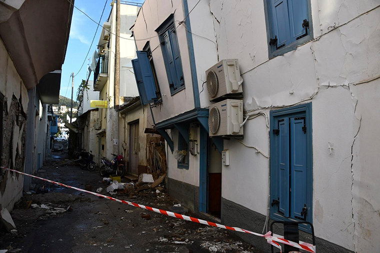 Damaged buildings are seen following the earthquake at the port of Vathy on the eastern Aegean island of Samos, Greece, on Oct. 30, 2020.