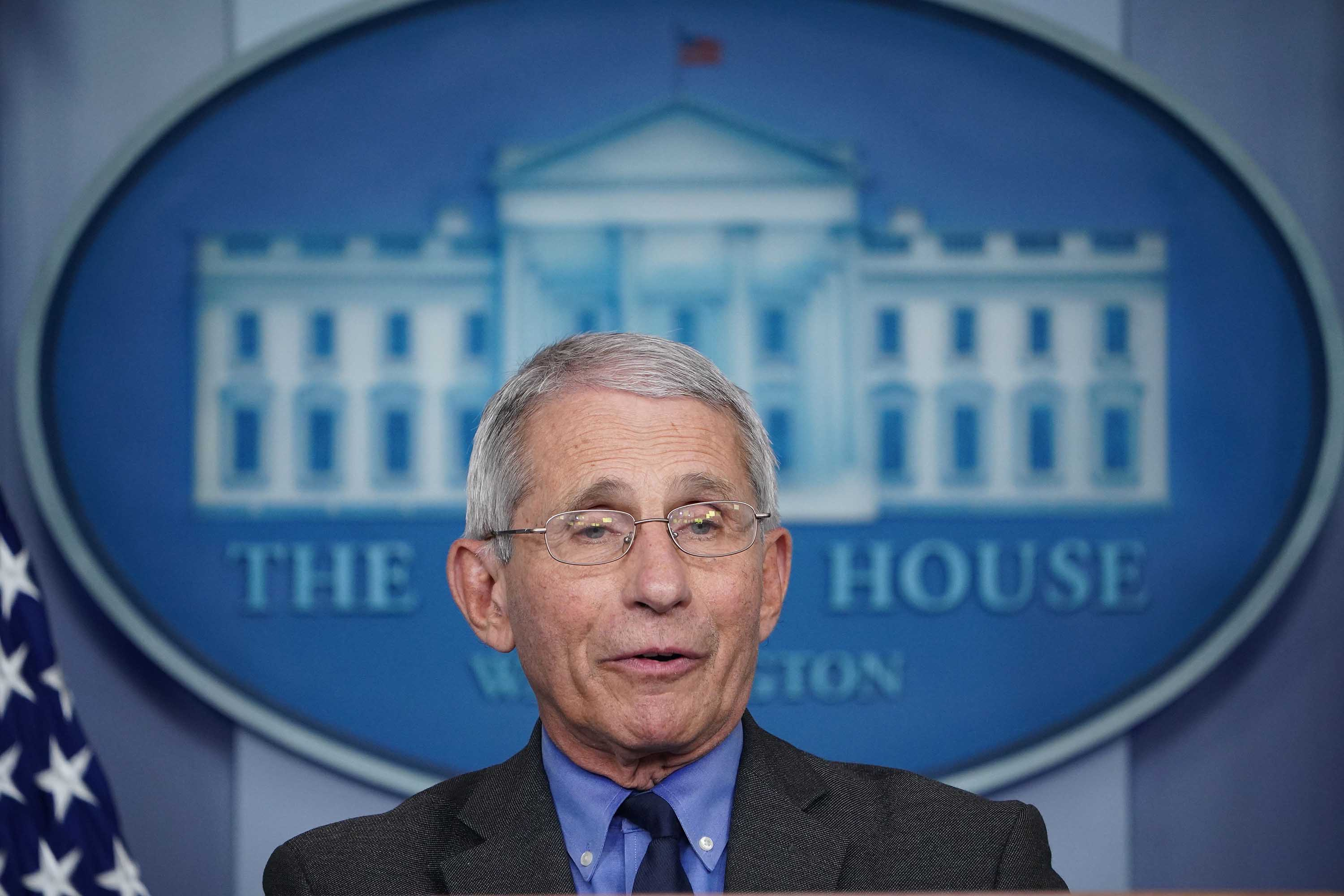 Director of the National Institute of Allergy and Infectious Diseases Anthony Fauci speaks during the daily briefing on the novel coronavirus at the White House on April 13.
