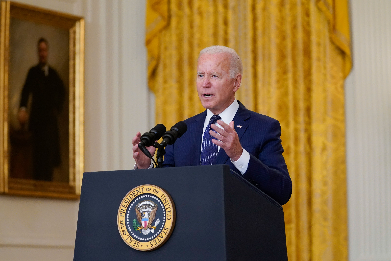 President Joe Biden speaks from the East Room of the White House on August 26 in Washington, DC.