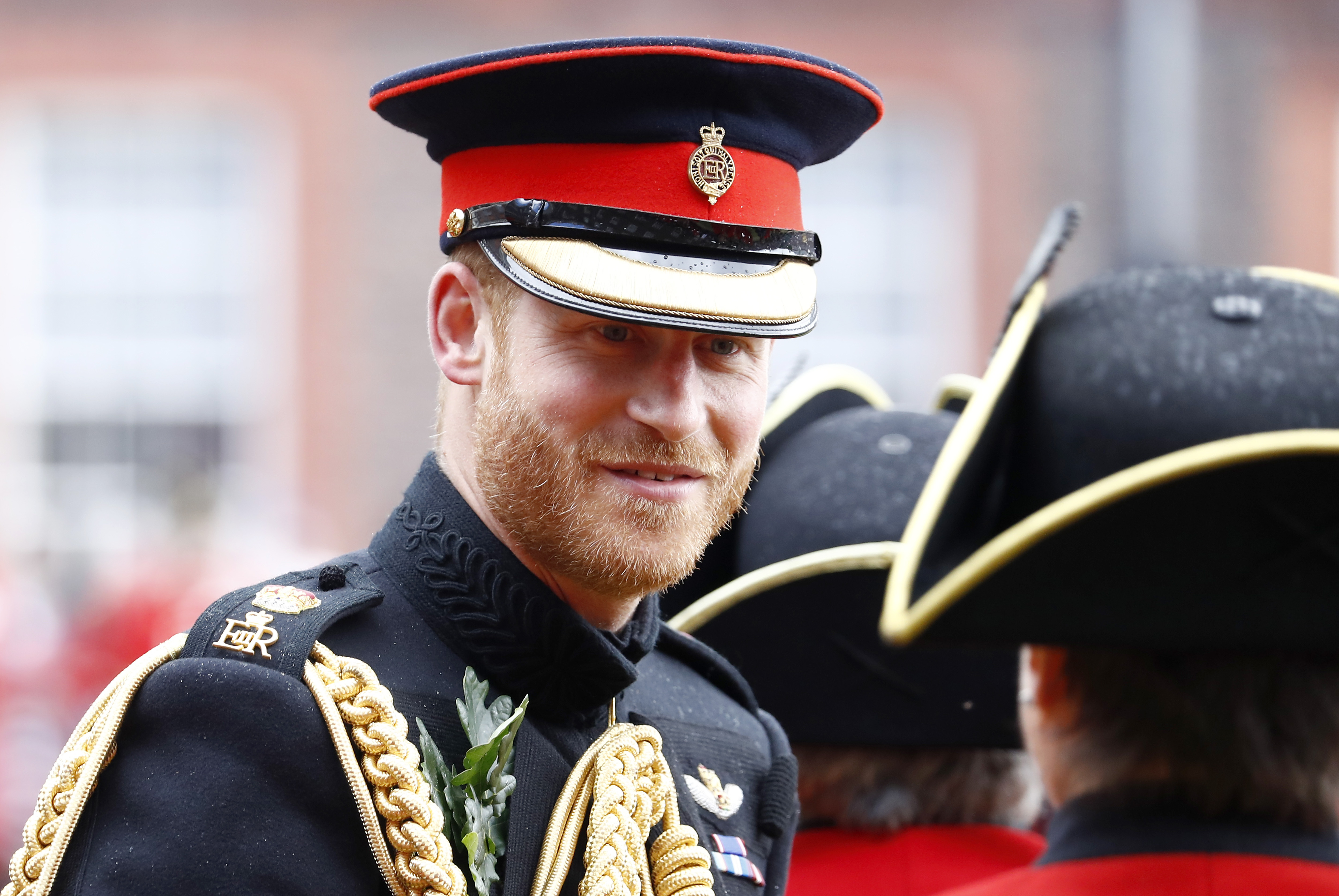 Prince Harry meets Chelsea Pensioners in west London.