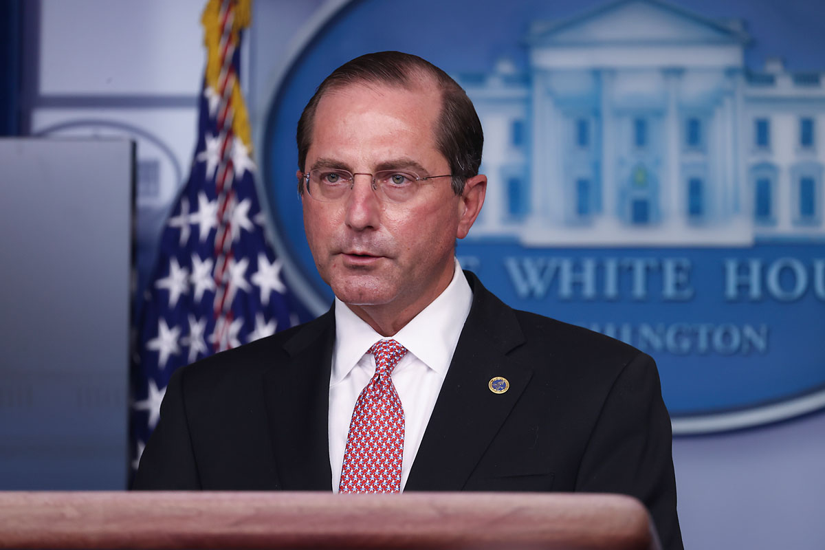 US Secretary of Health and Human Services Alex Azar speaks during a White House Coronavirus Task Force press briefing in the James Brady Press Briefing Room at the White House on November 19.