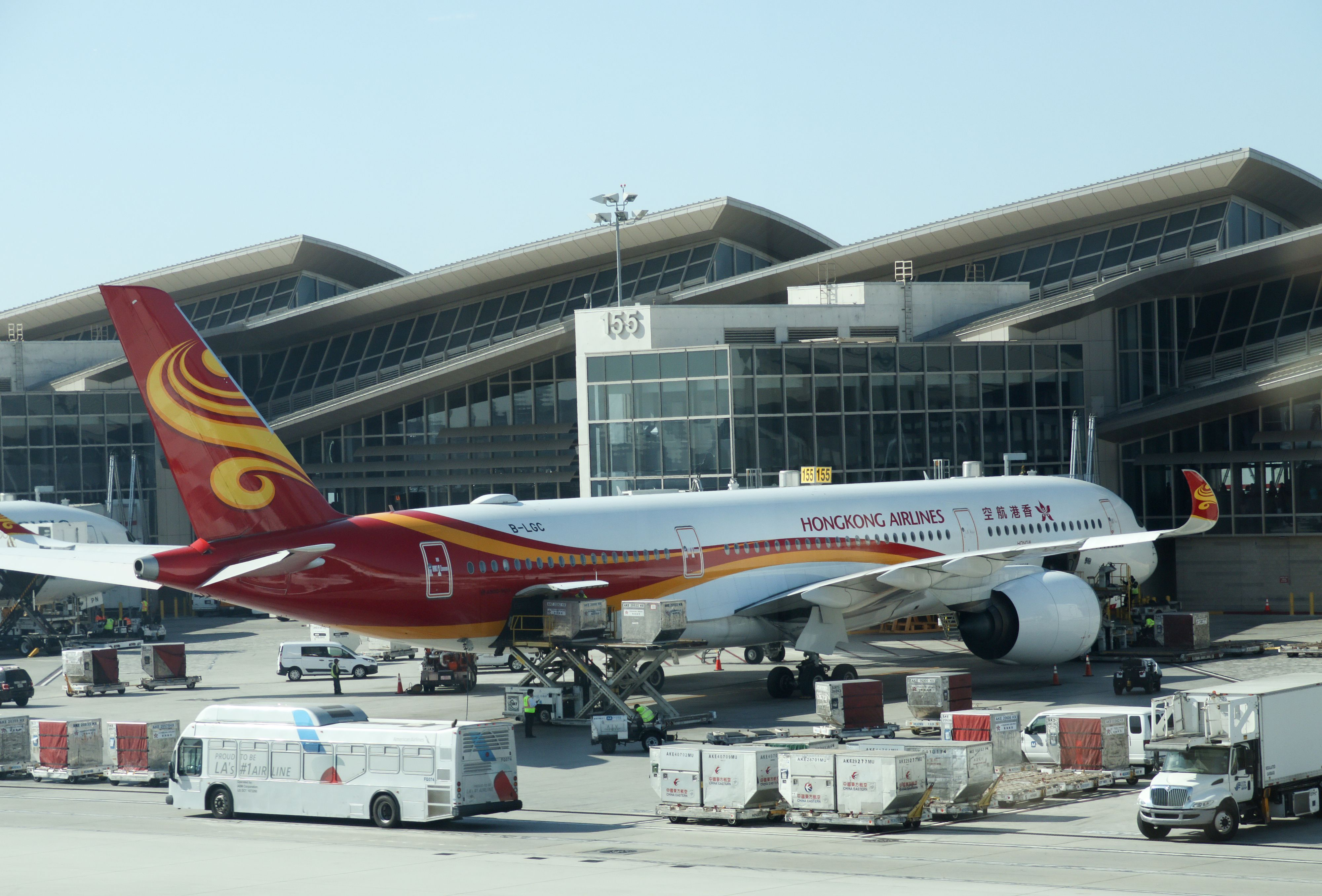 A Hong Kong Airlines plane at Los Angeles International Airport on October 29, 2019.
