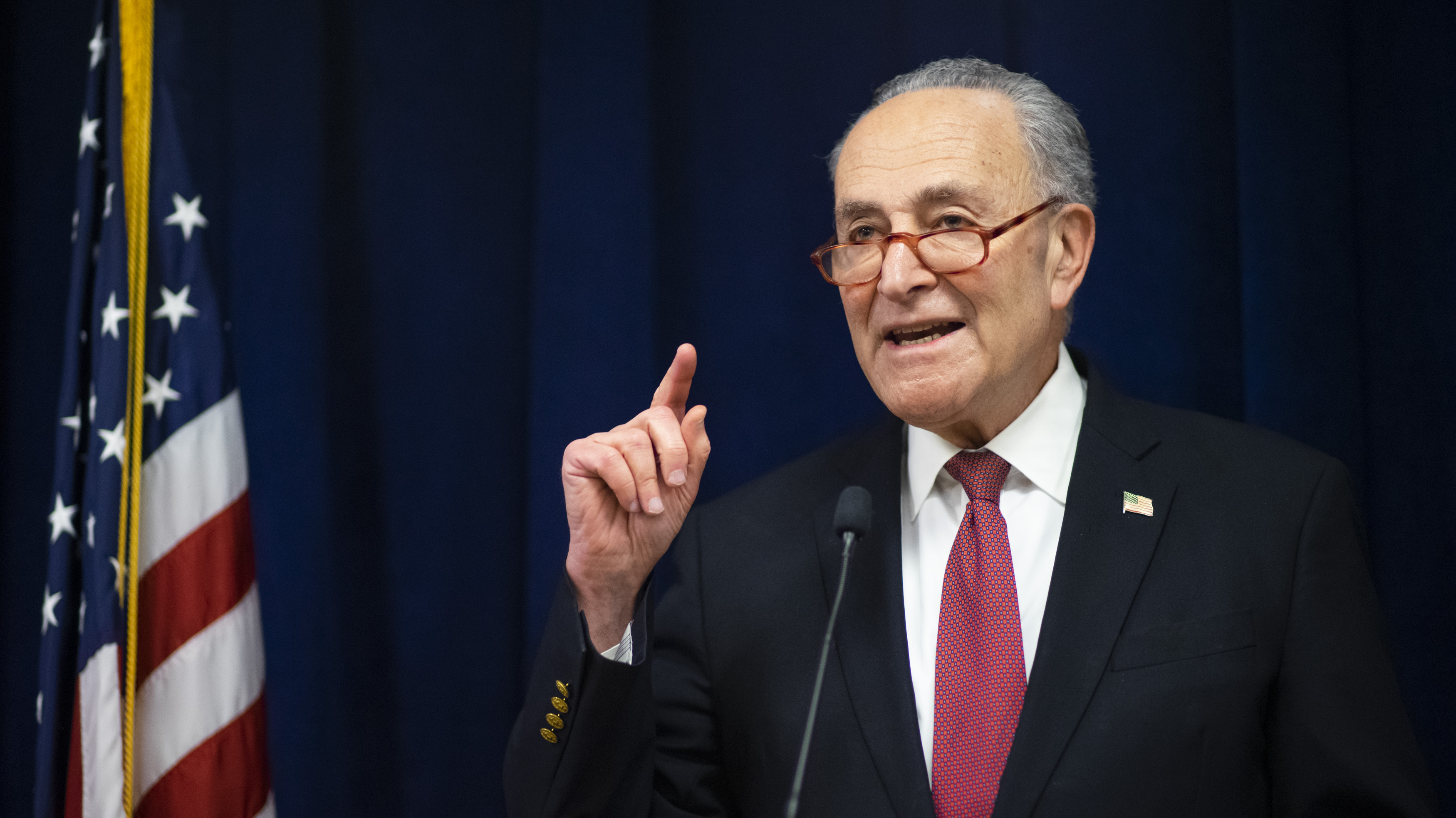 Sen. Chuck Schumer of New York speaking at his Manhattan office on February 6, 2020.