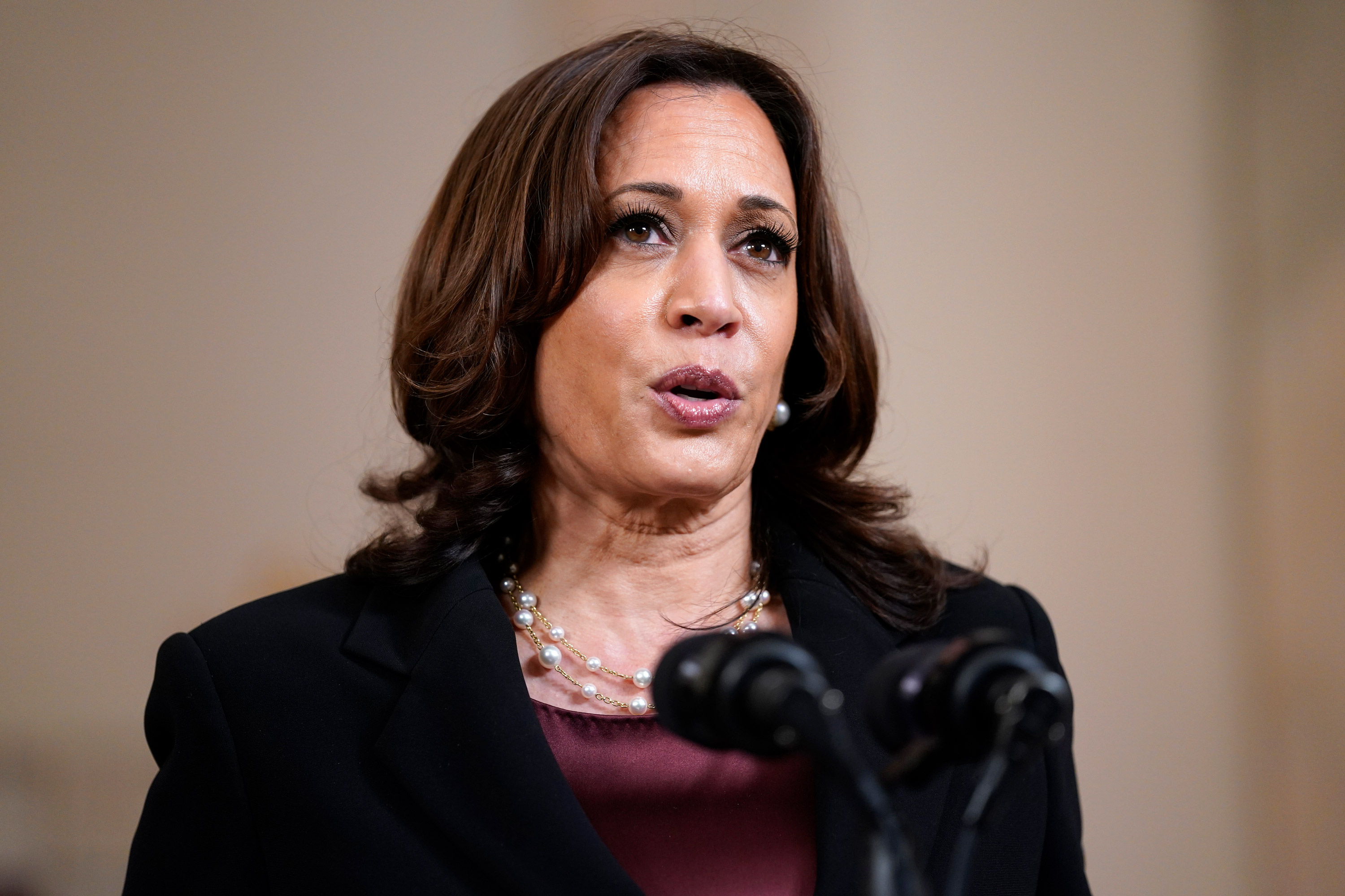 Vice President Kamala Harris speaks on April 20 at the White House in Washington, DC.