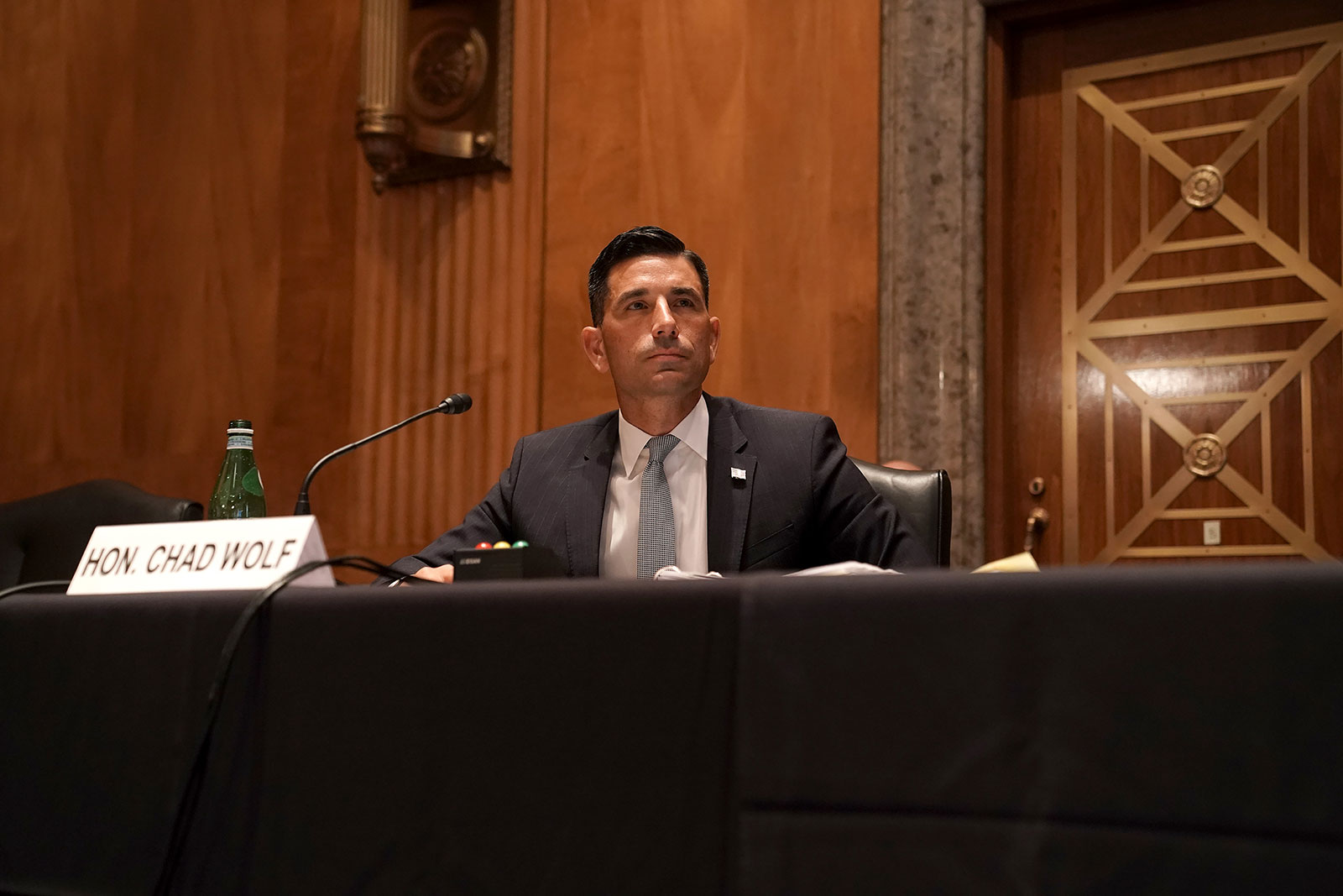 Then-acting Department of Homeland Security Secretary Chad Wolf testifies during his confirmation hearing before the Senate on September 23, 2020.