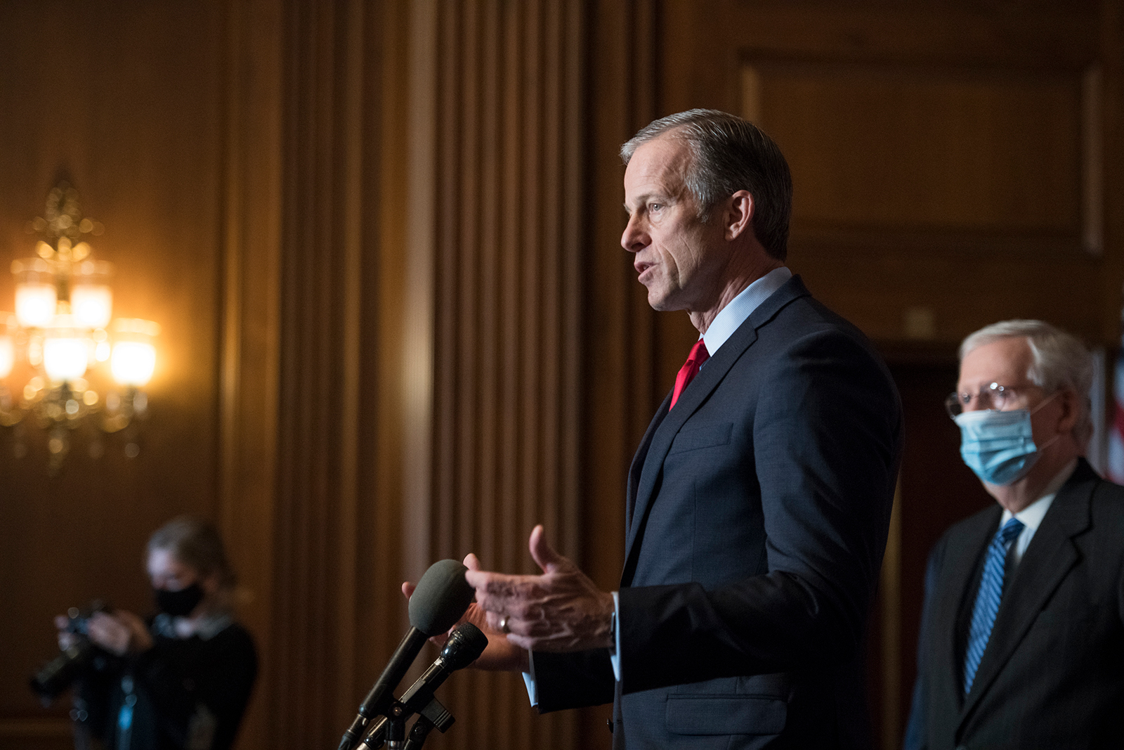 Sen. John Thune speaks during a news conference following the weekly meeting with the Senate Republican caucus at the Capitol on December 15, in Washington, DC.