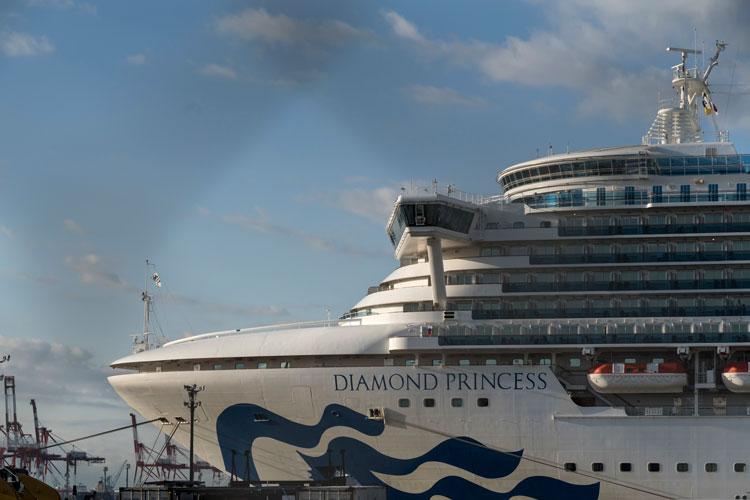 The quarantined Diamond Princess cruise ship sits docked at Daikoku Pier on Wednesday, February 19, in Yokohama, Japan.