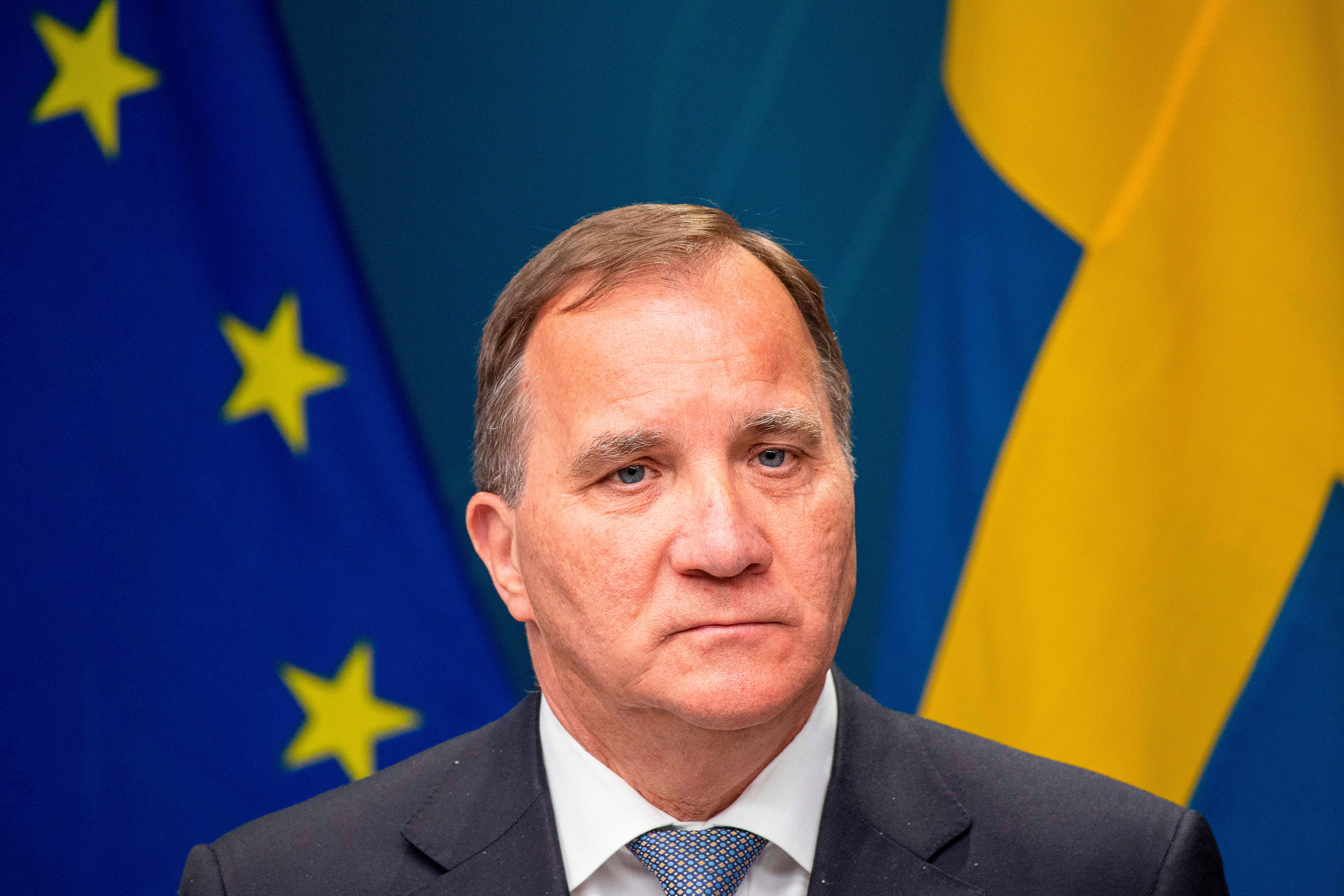 Swedish Prime Minister Stefan Löfven holds a press conference in Stockholm on May 29.